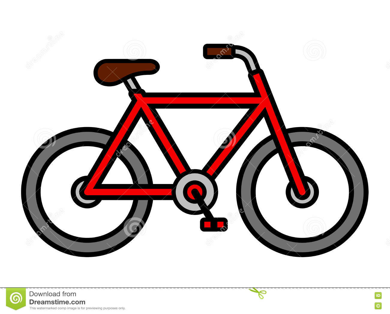 Disegno Di Profilo Rosso Variopinto Della Bicicletta Del Fumetto