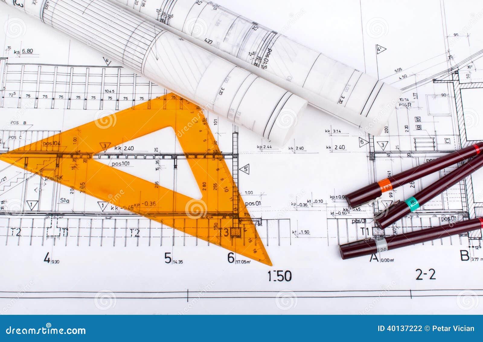 Disegno di progetto dell 39 architetto fotografia stock immagine 40137222 - Disegno progetto casa ...