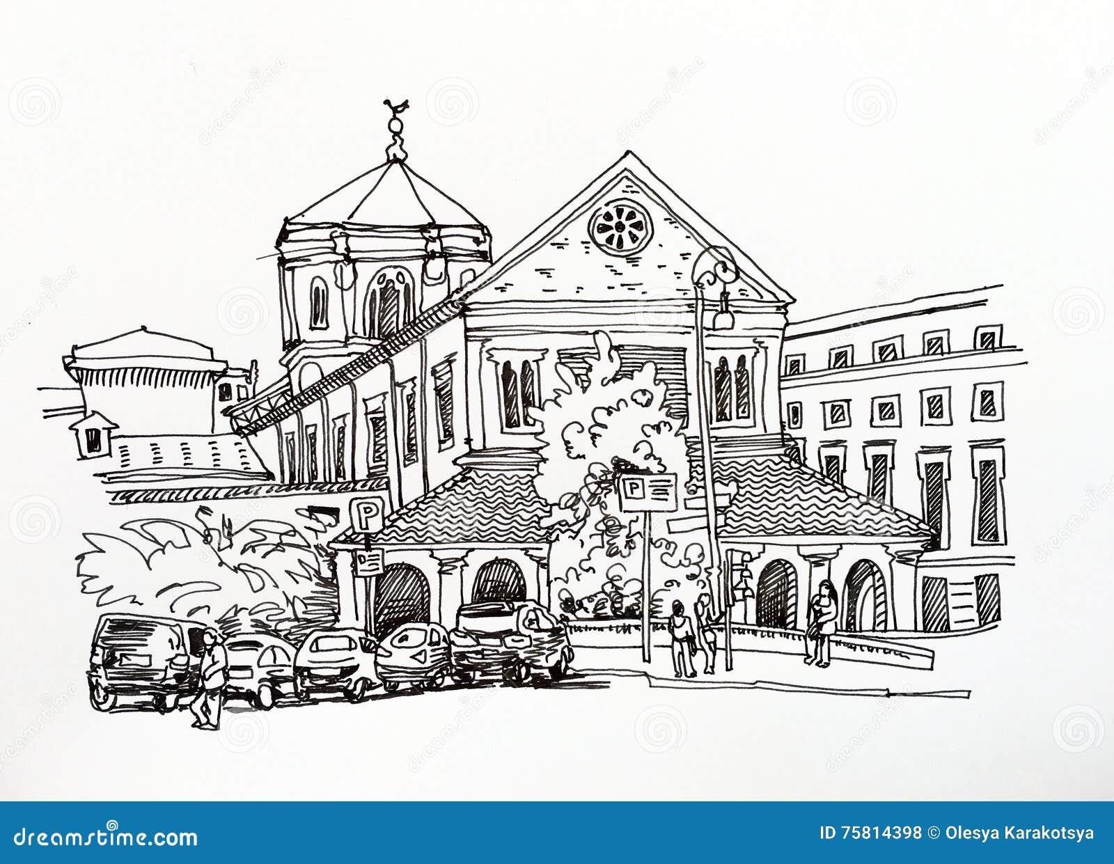 Disegno di schizzo in bianco e nero del paesaggio urbano for Disegni bianco e nero paesaggi