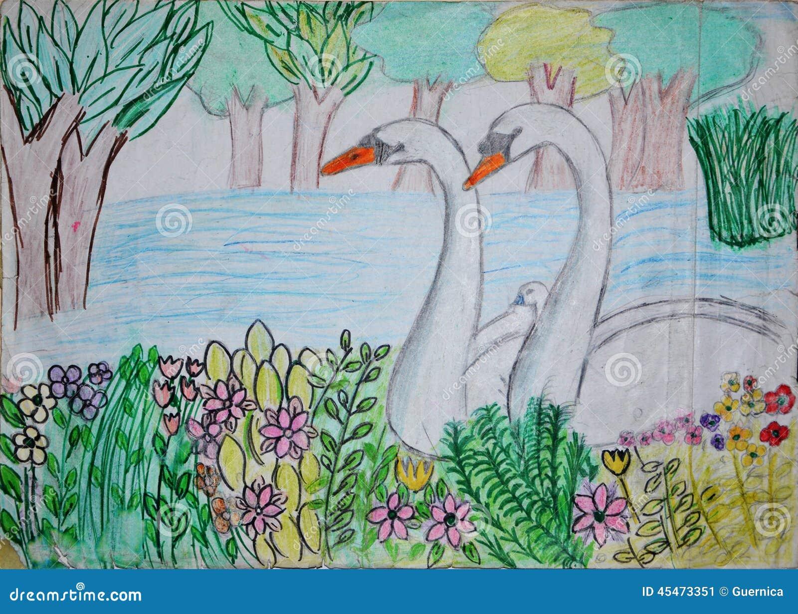 Disegno di schizzo del lago del cigno illustrazione di for Lago disegno