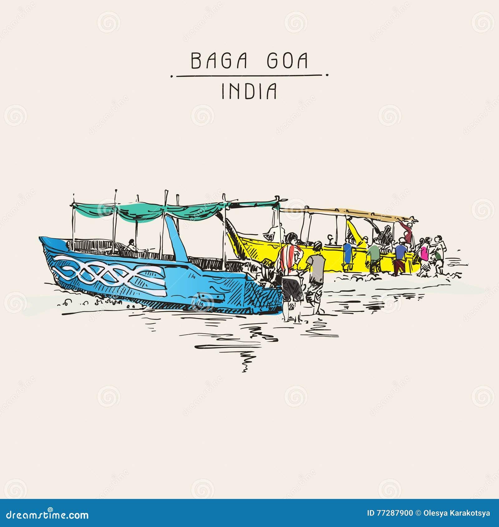 Disegno di schizzo della spiaggia dell 39 india baga con due for Disegno della casa sulla spiaggia