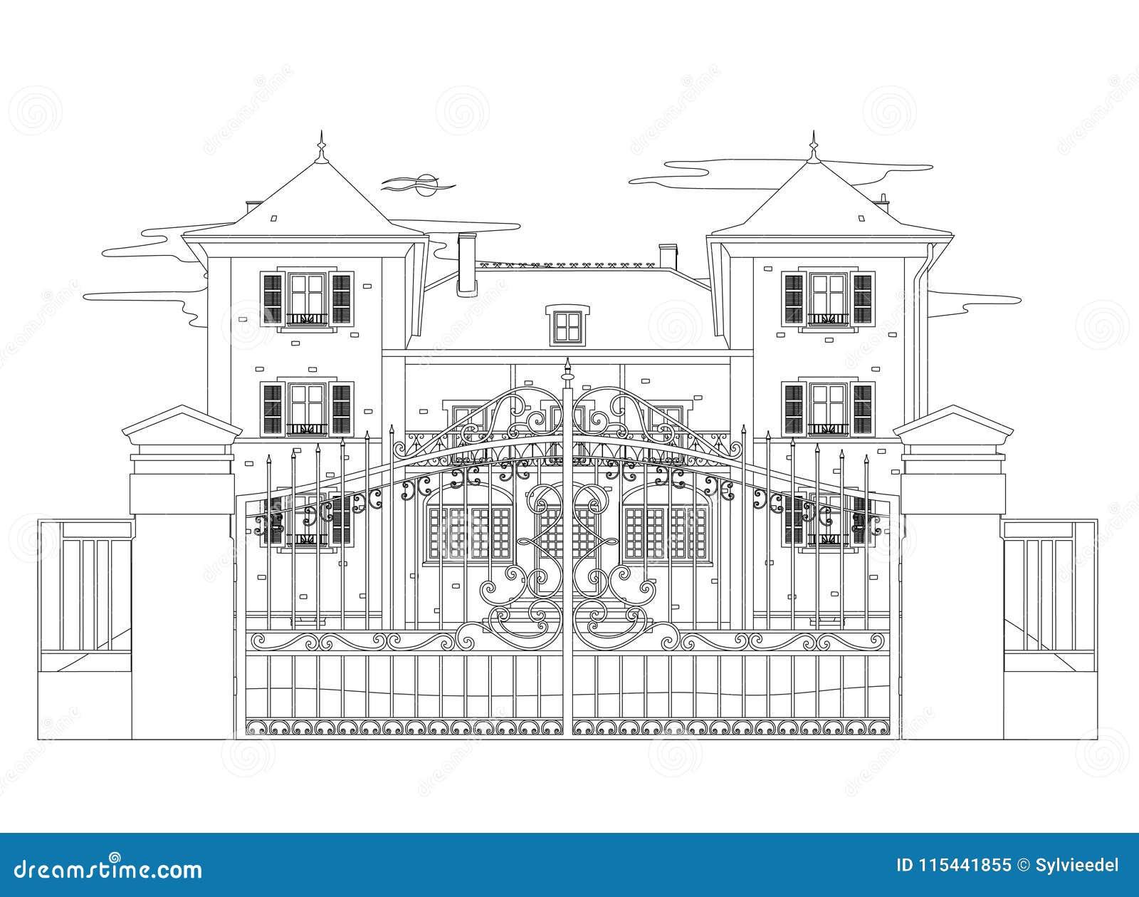 Disegno Di Una Casa Molto Piacevole Illustrazione Vettoriale