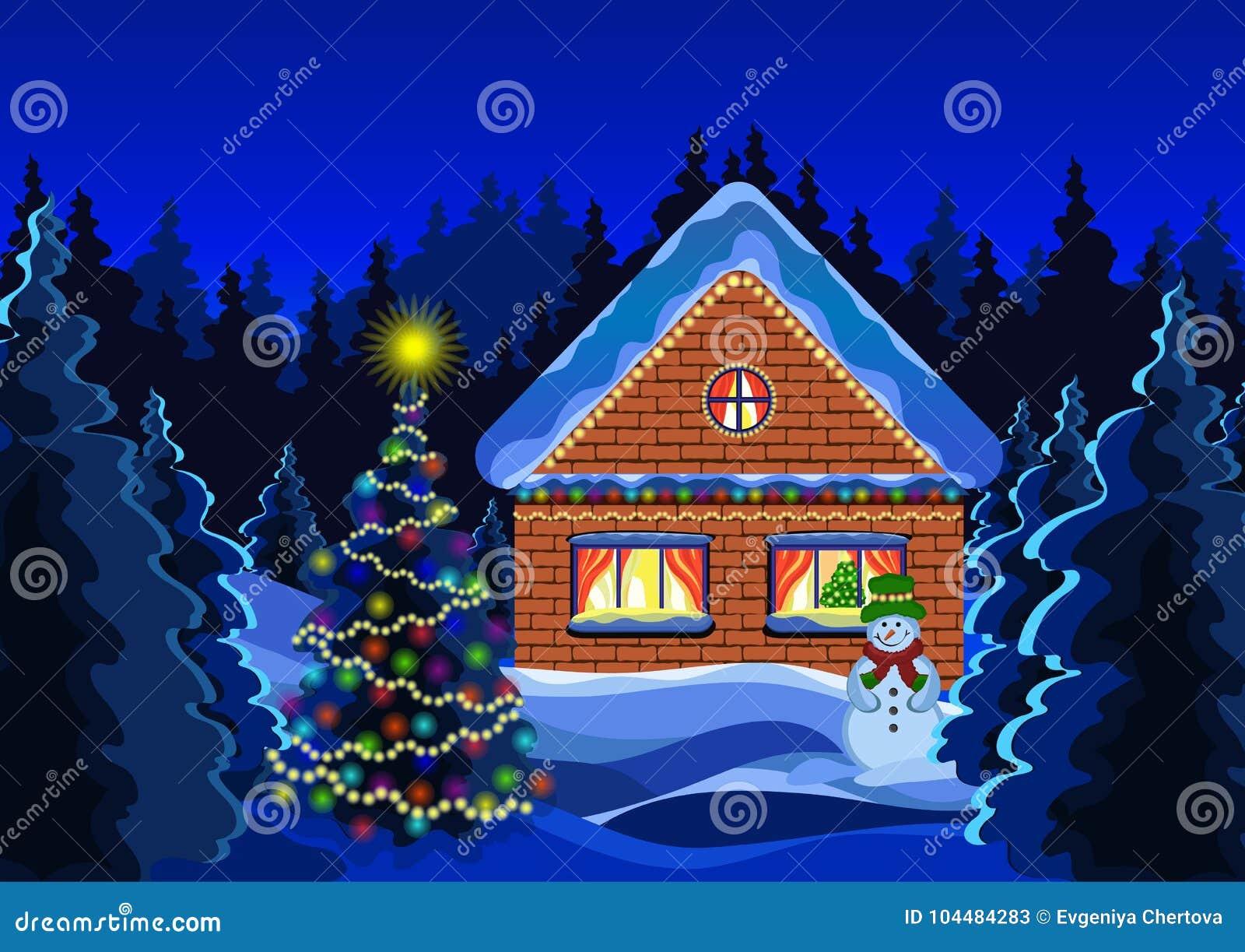 Disegno Di Vettore Del Paesaggio Di Natale Di Inverno Foresta Della