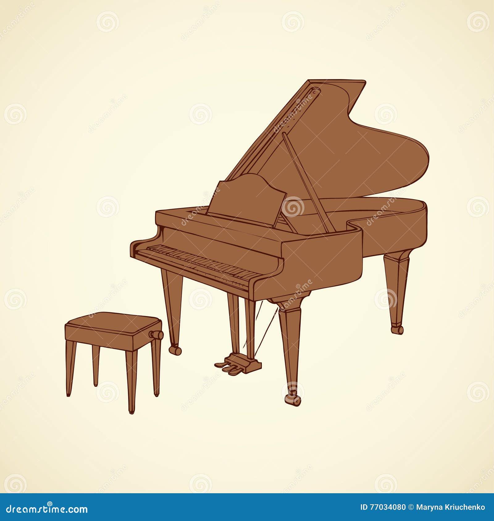 Disegno di vettore di un pianoforte a coda aperto for Disegno di piano domestico