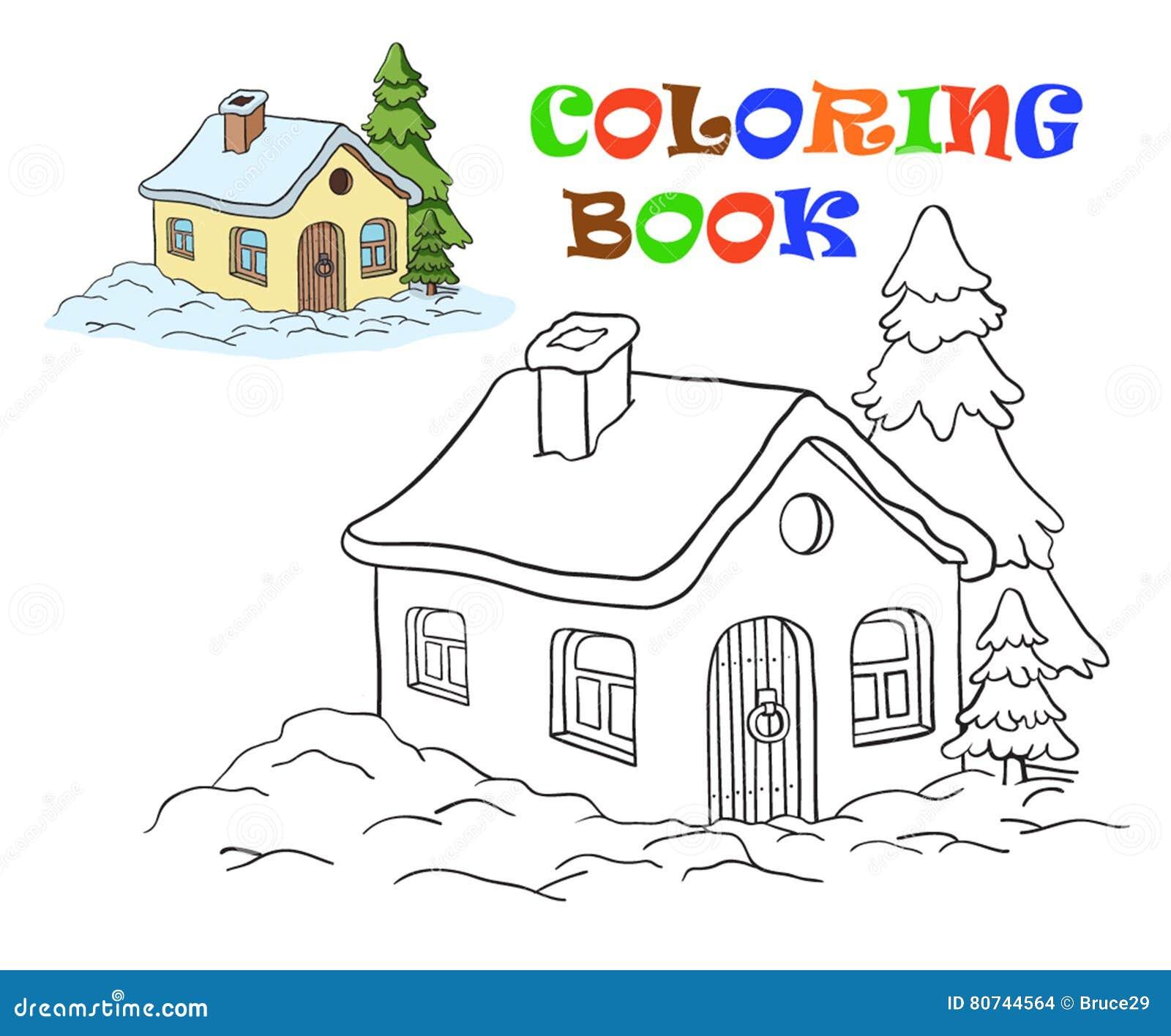 Disegno di vettore di una casa coloritura per i bambini for Disegno casa bambini