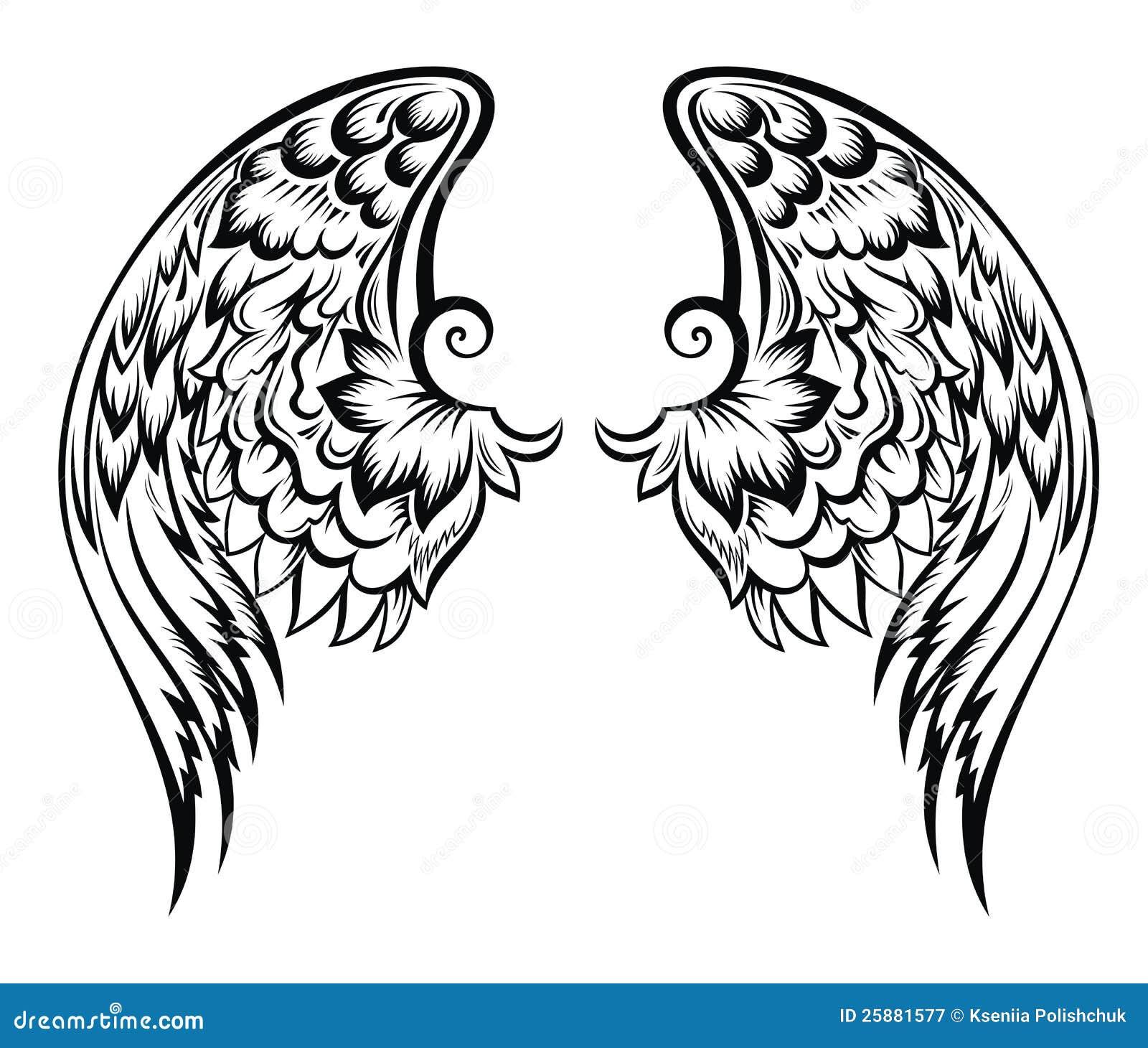 Molto Disegno di Wings.Tatoo illustrazione vettoriale. Immagine di mosca  AE17
