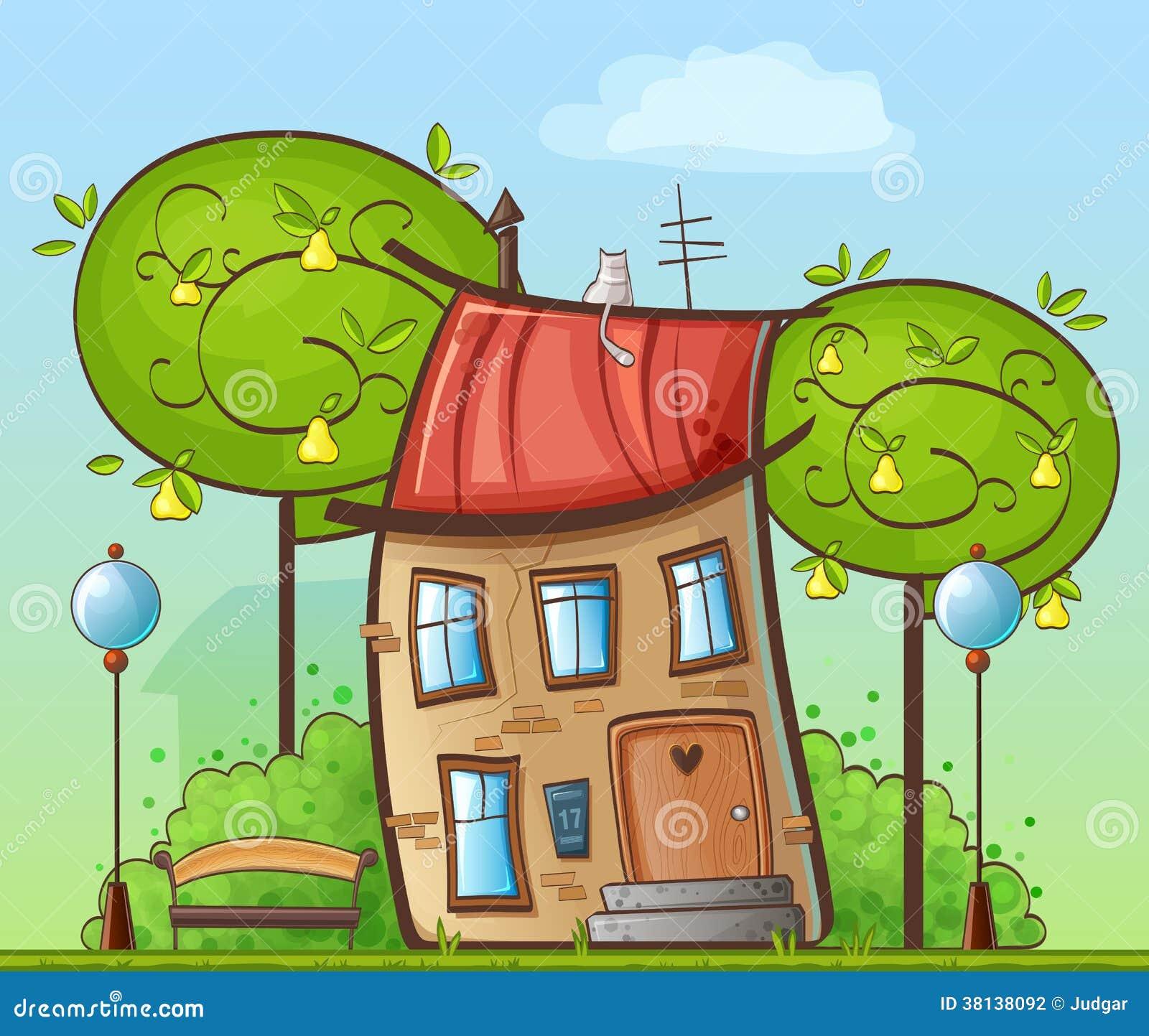 Disegno divertente del fumetto casa nel cortile con gli for Disegno del programma di casa