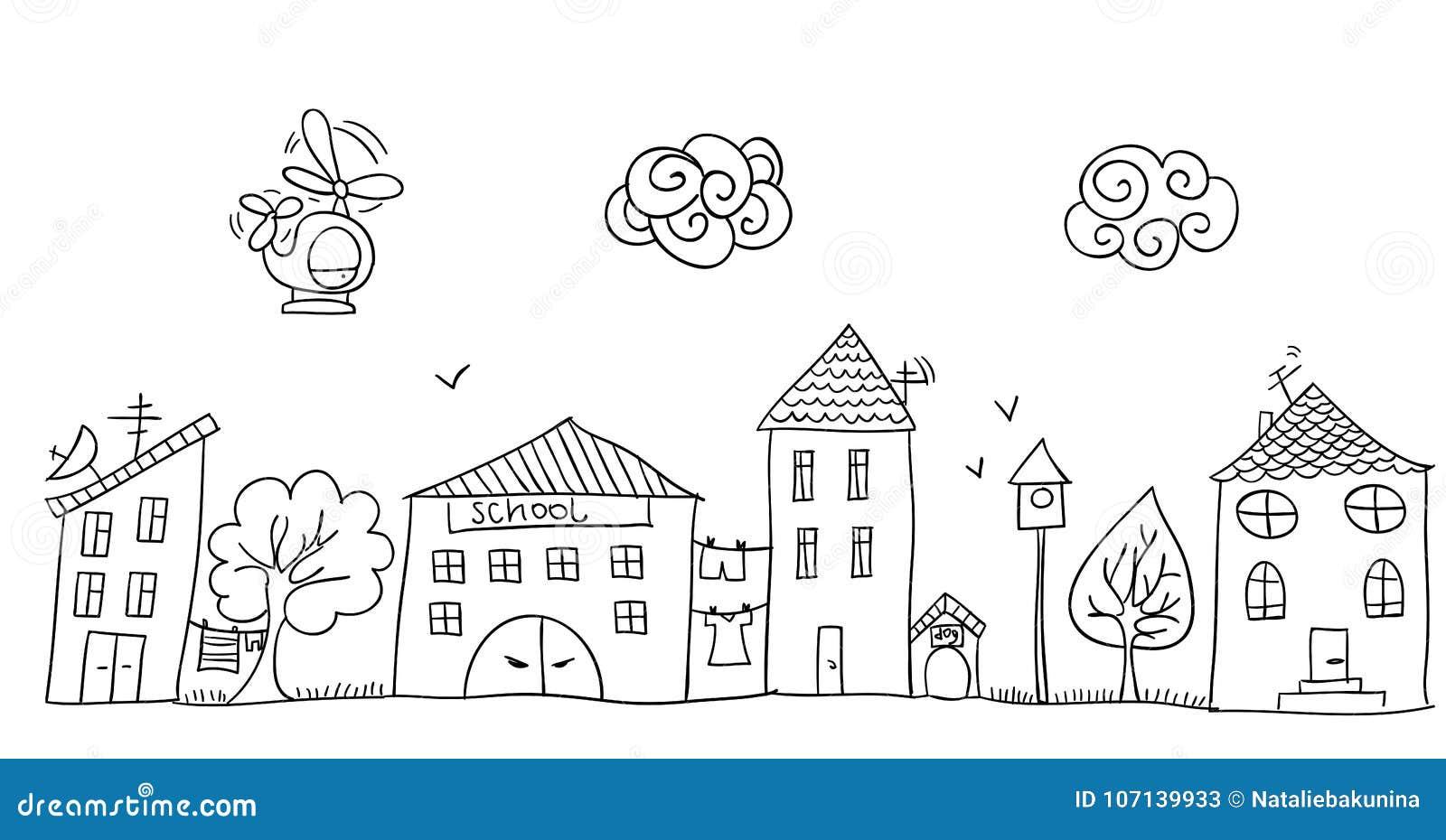 Disegno Divertente Del S Dei Bambini Della Via Illustrazione
