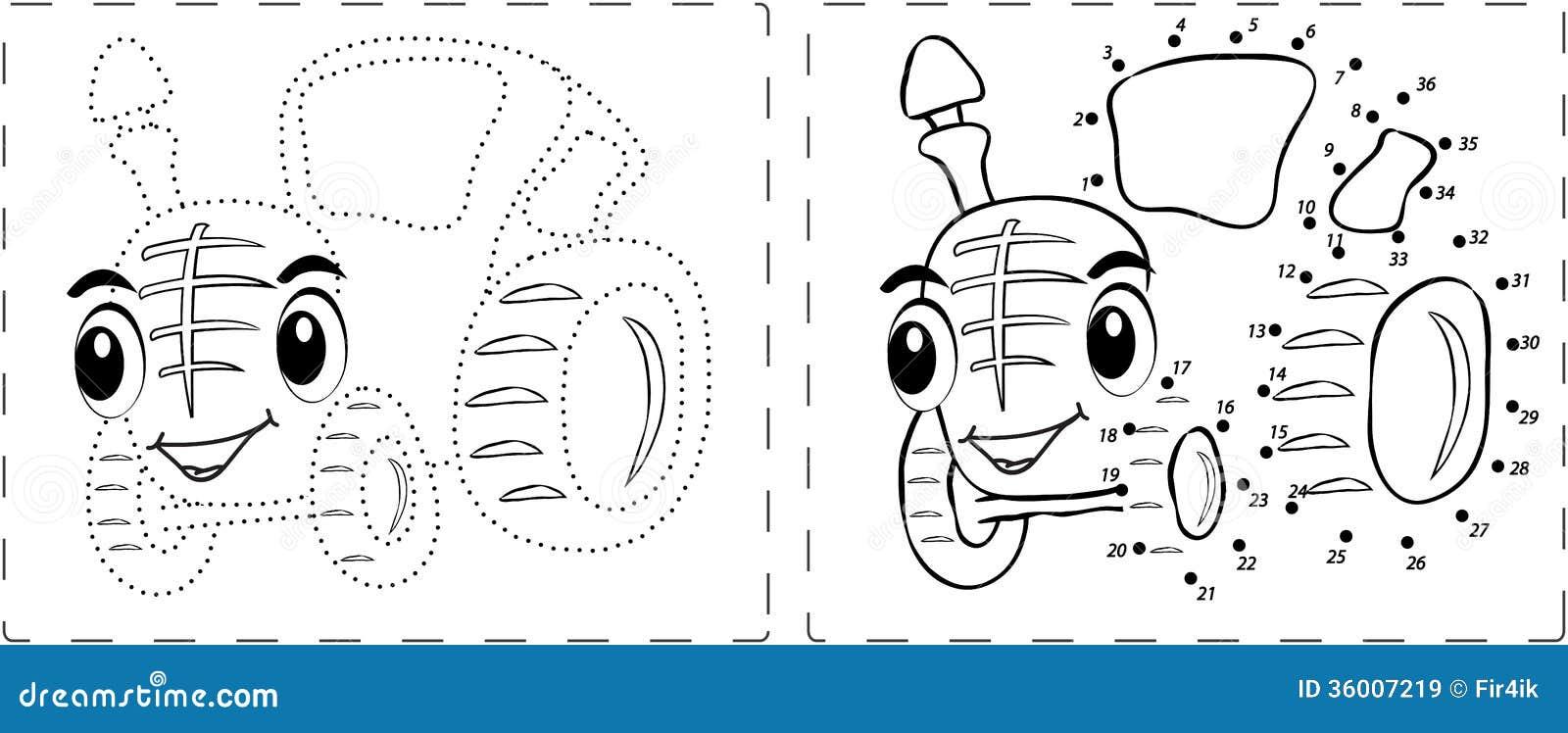 disegno divertente del trattore con i punti e le cifre