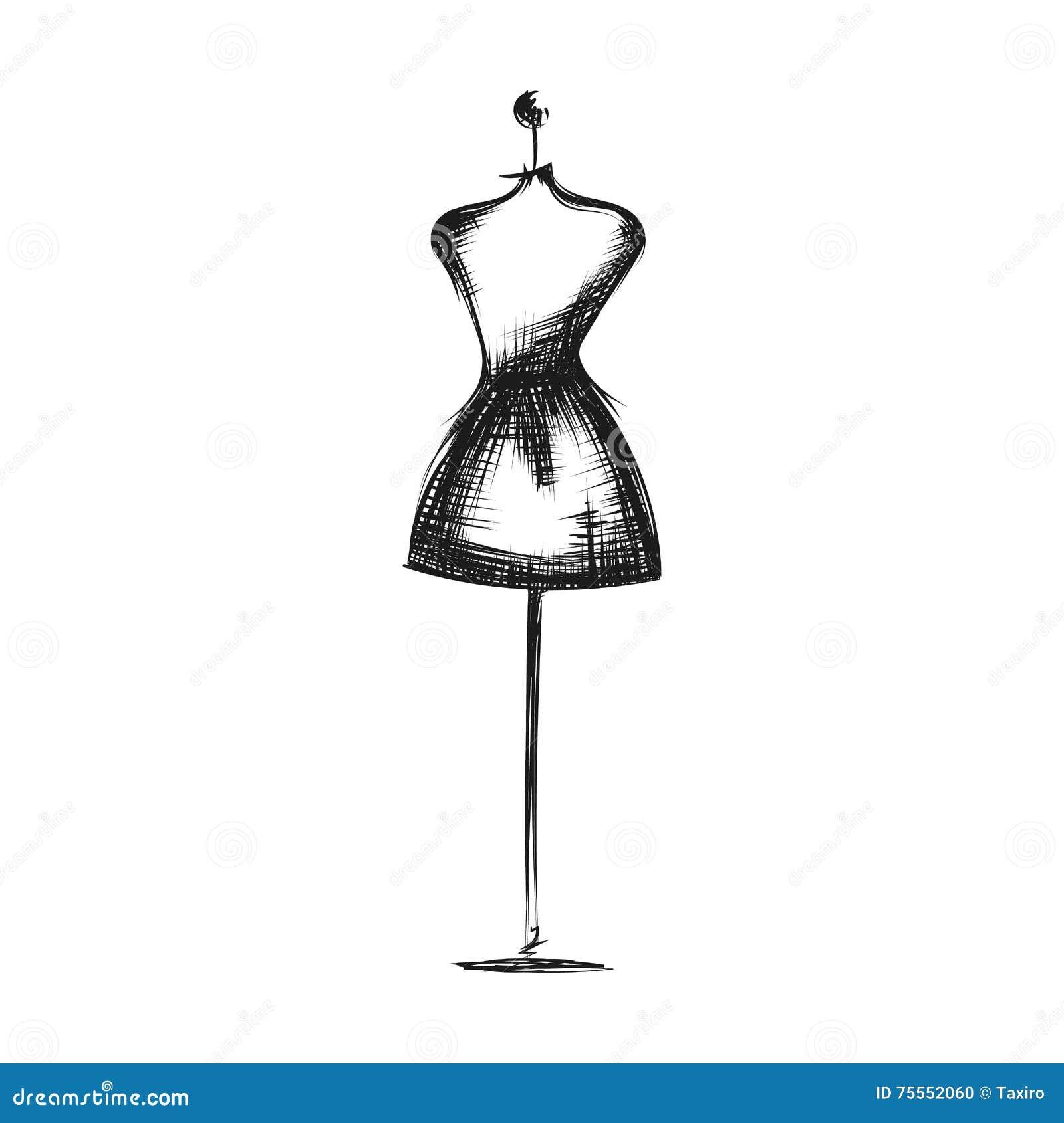 Disegno Fittizio Della Mano Del Vestito Illustrazione Vettoriale
