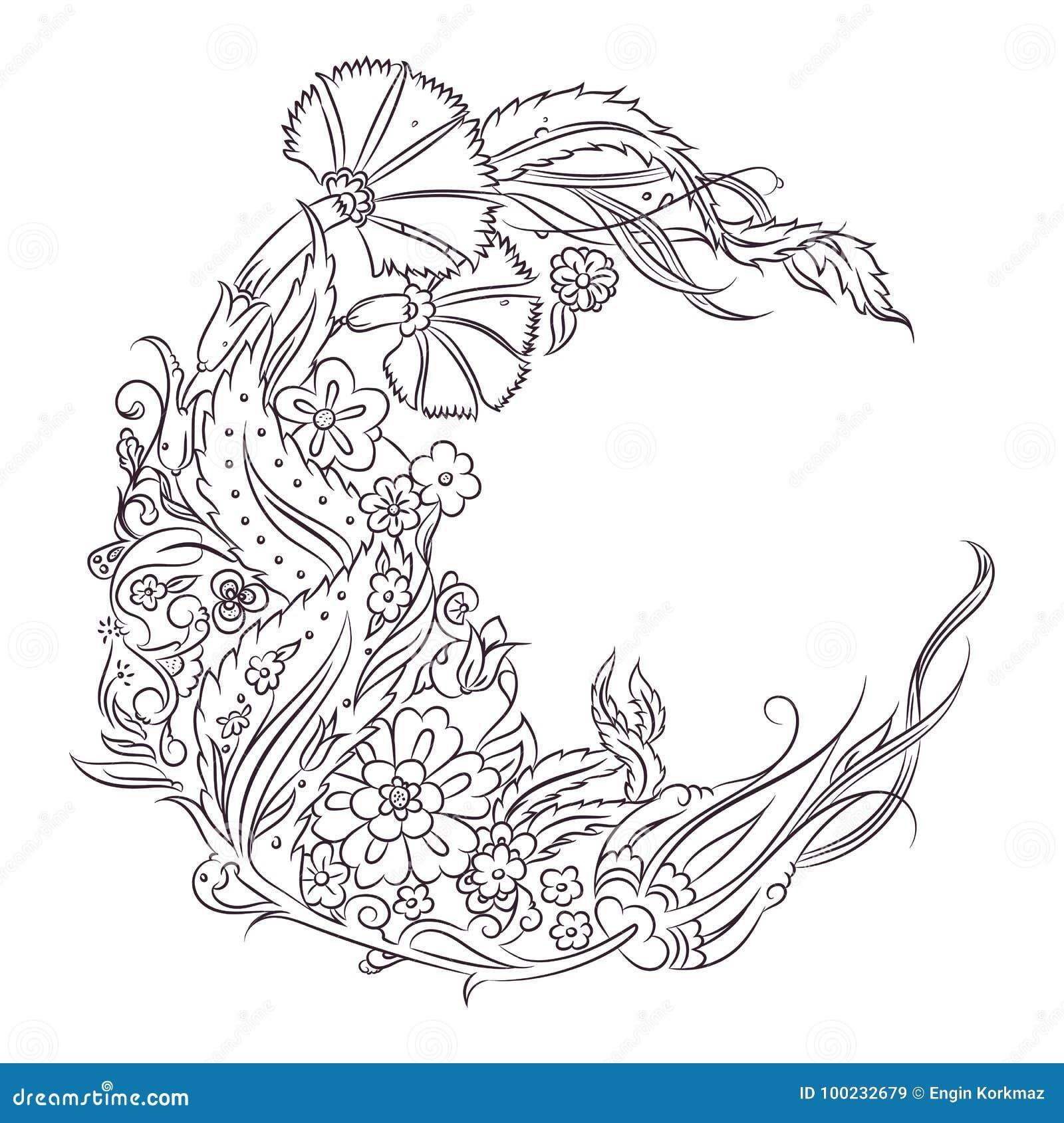 Disegno Floreale Di Stile Di Nicea Illustrazione Vettoriale