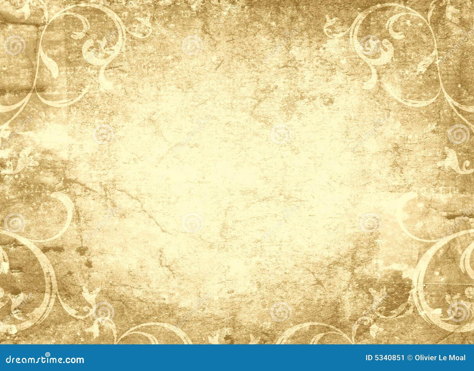 Disegno Floreale E Vecchia Pergamena Immagine Stock