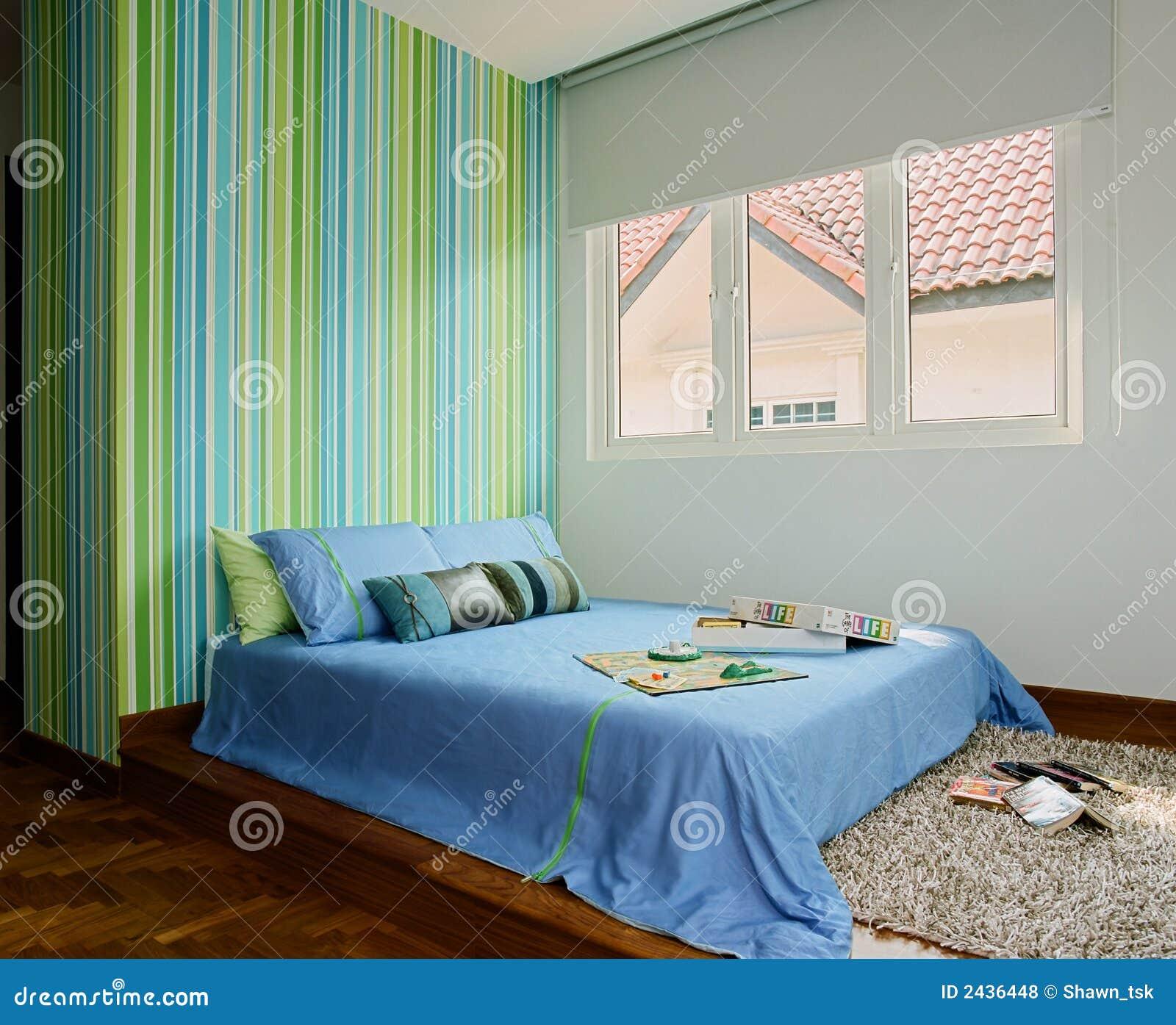 Disegno interno camera da letto fotografie stock libere - Carta da parati in camera da letto ...