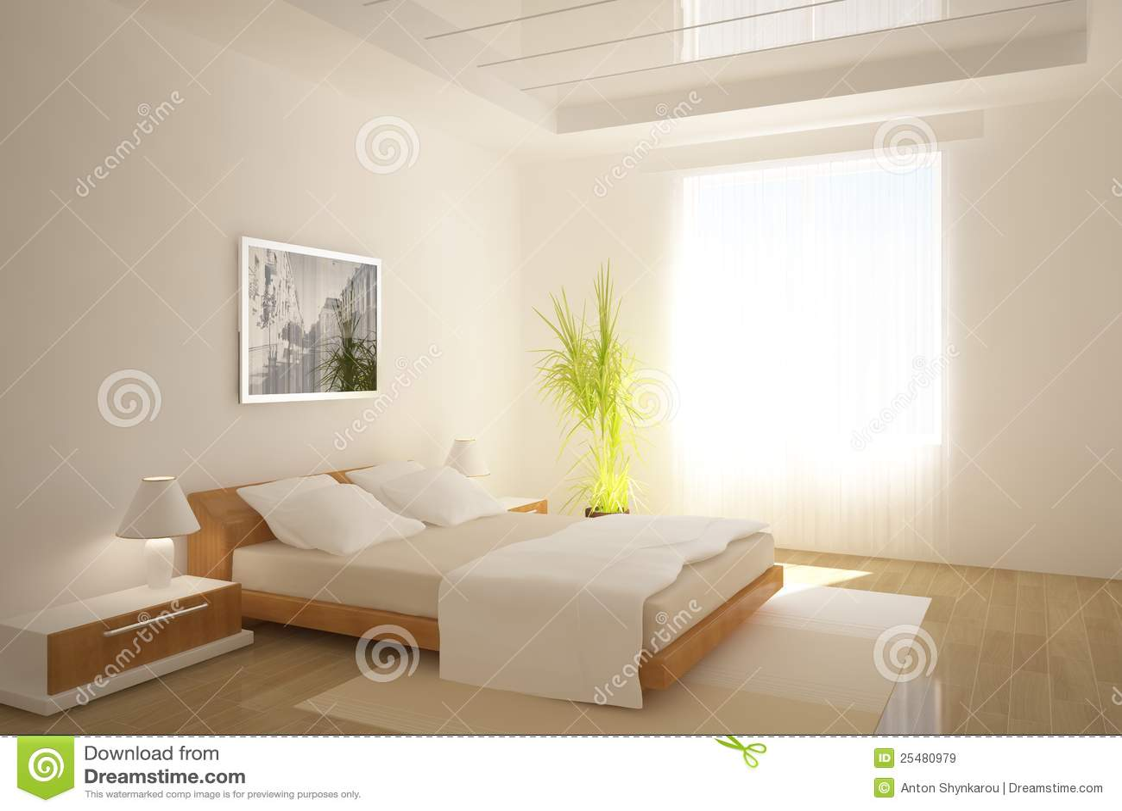 Disegno interno della camera da letto bianca illustrazione - Camera da letto bianca moderna ...