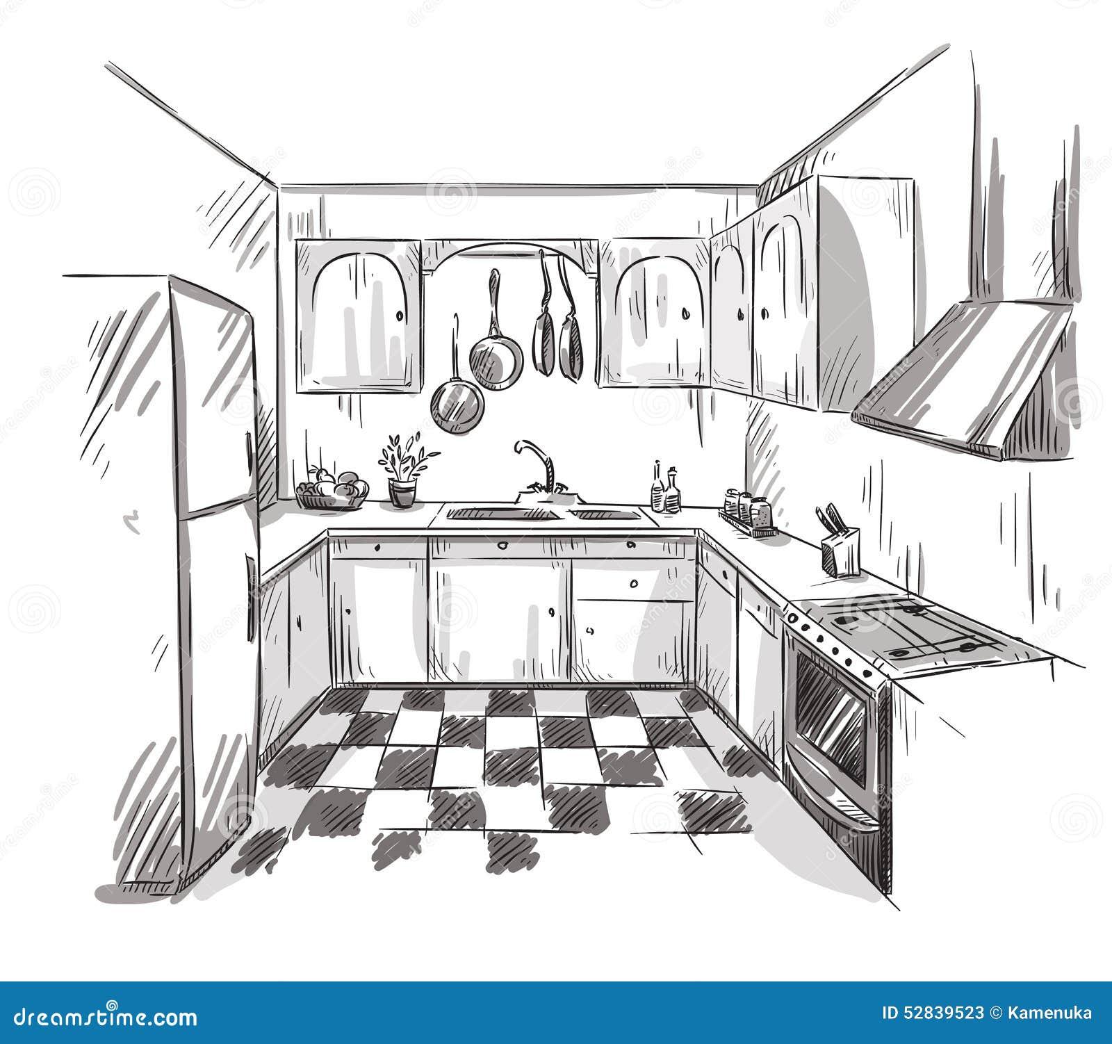Disegno Interno Della Cucina, Illustrazione Di Vettore Illustrazione ...