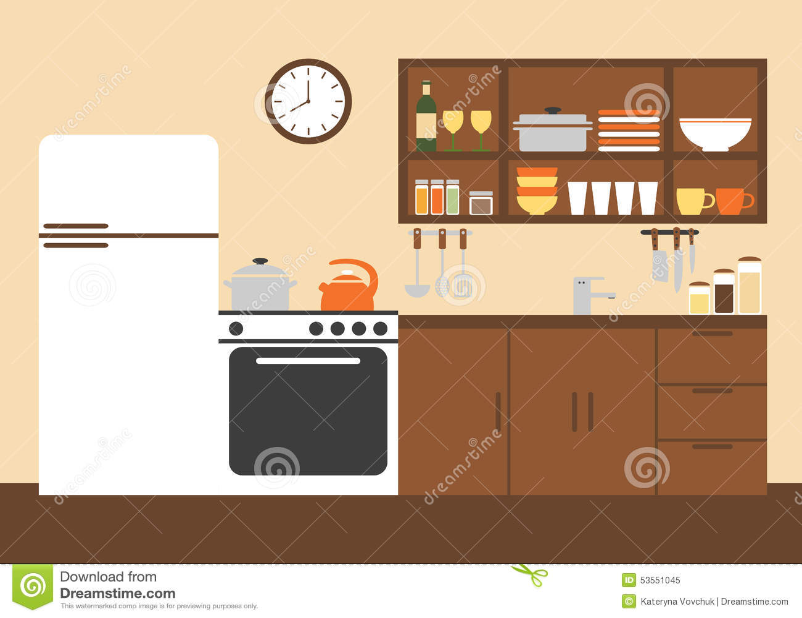 Cucine Moderne Con Disegni.Disegno Interno Della Cucina Moderna Illustrazione