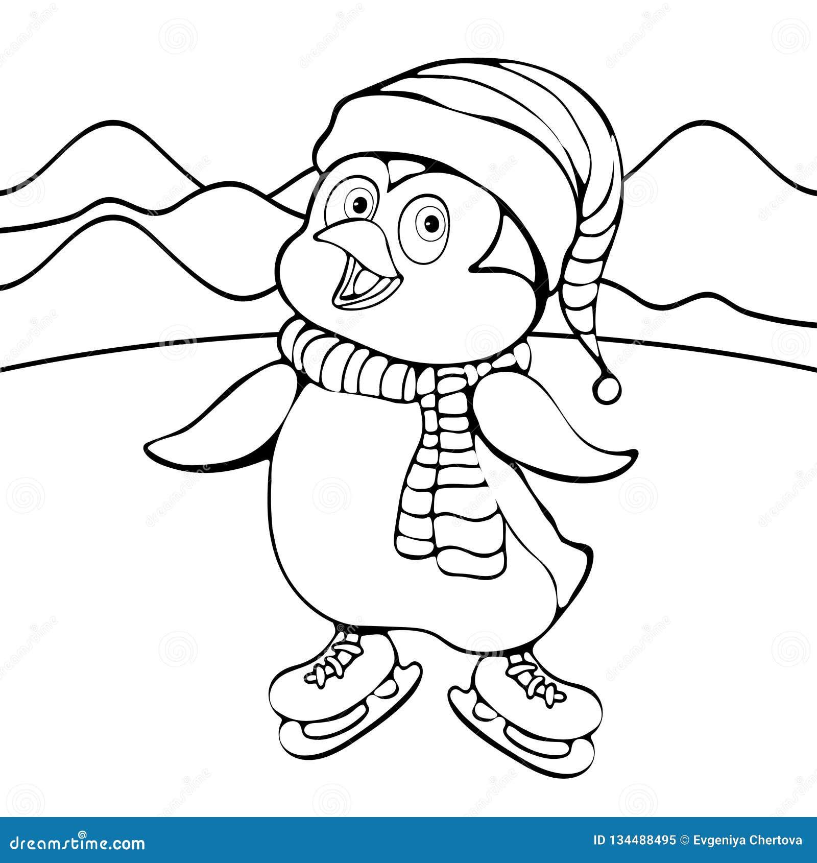 Disegno Lineare Della Mano Del Pinguino Personaggio Dei Cartoni