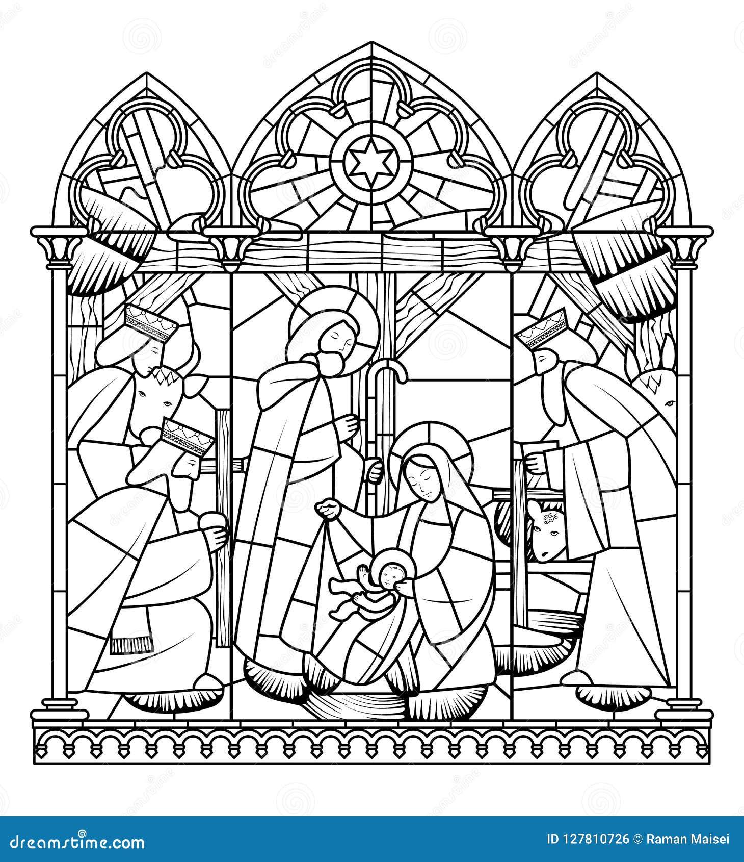 Disegno Lineare Della Nascita Della Scena Di Jesus Christ Nel Telaio
