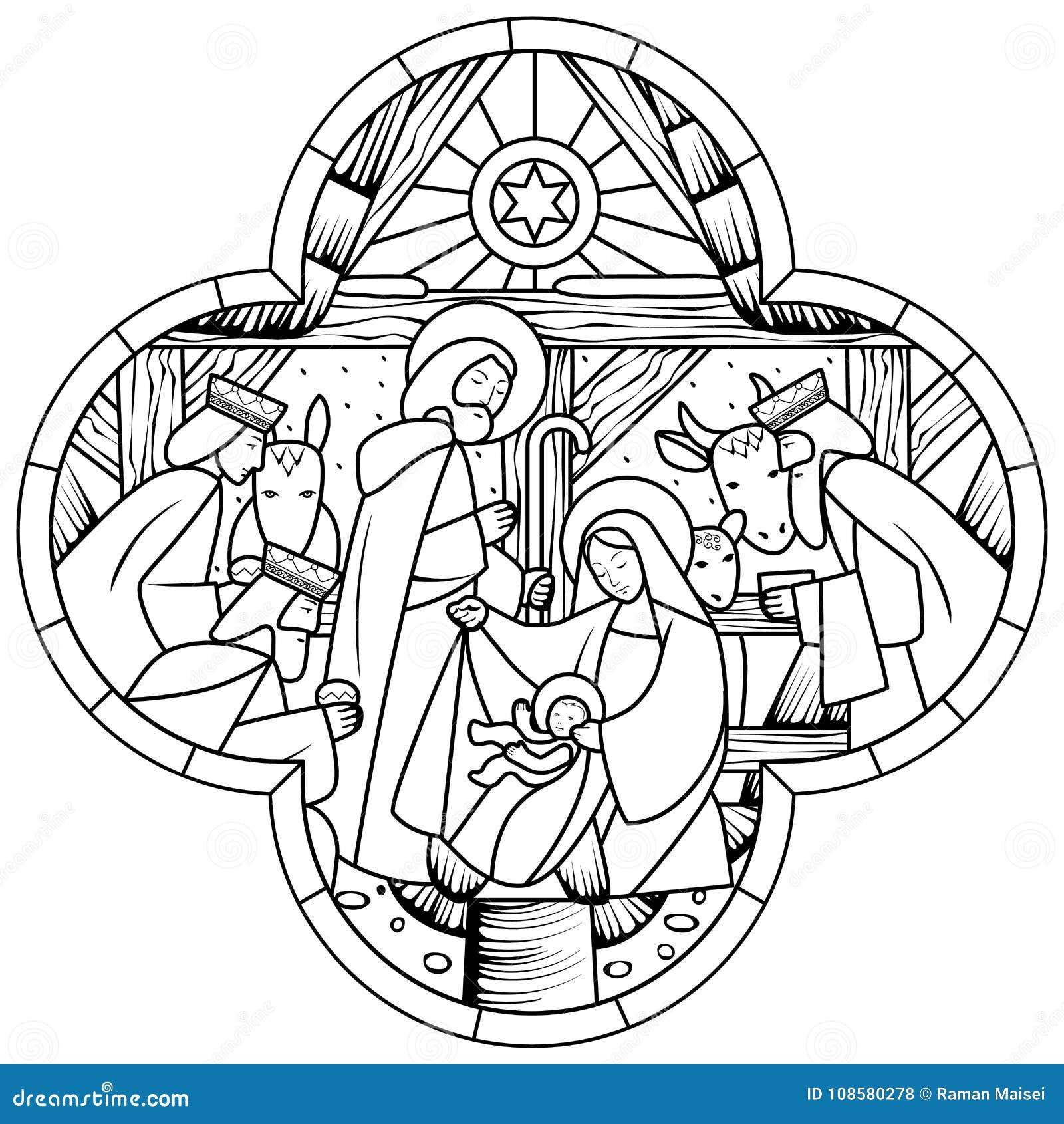 Disegno Lineare Della Nascita Della Scena Di Jesus Christ Nella
