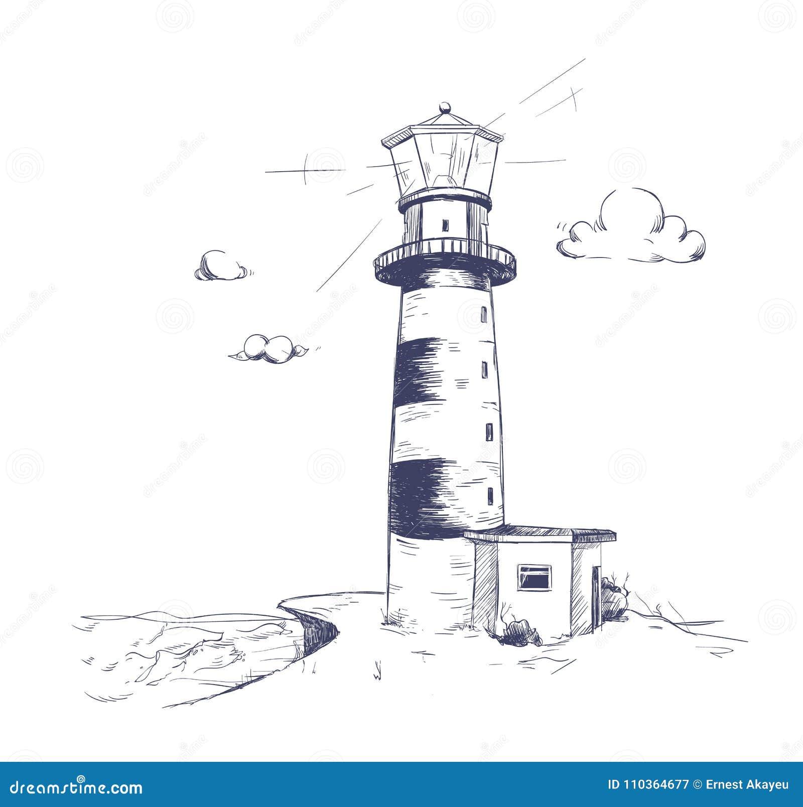 Disegno A Mano Libera Di Bello Paesaggio Della Spiaggia Con Il Faro
