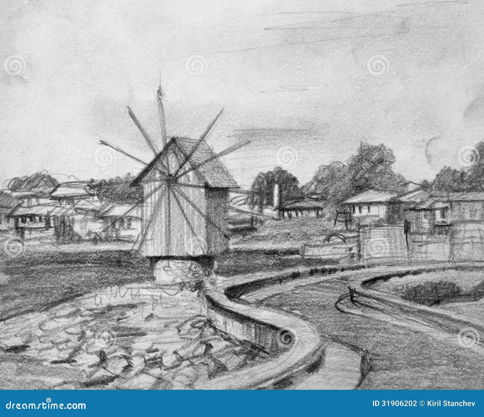 Disegno a matita di vecchio mulino a vento di nesebar for Disegno del piano di architettura