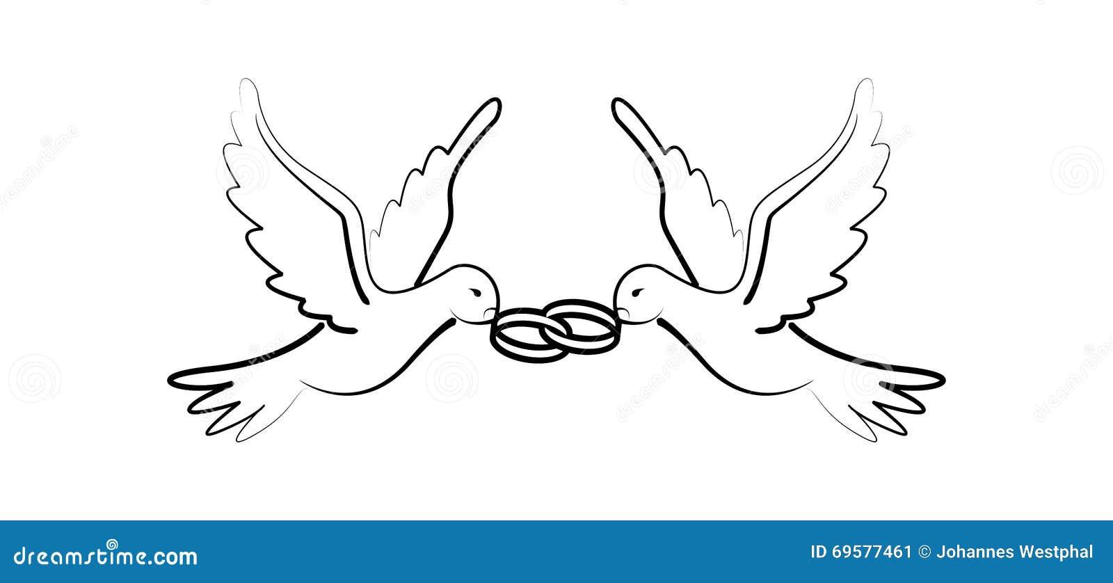 Disegno Minimo Dell Ornamento Degli Uccelli Della Colomba Di