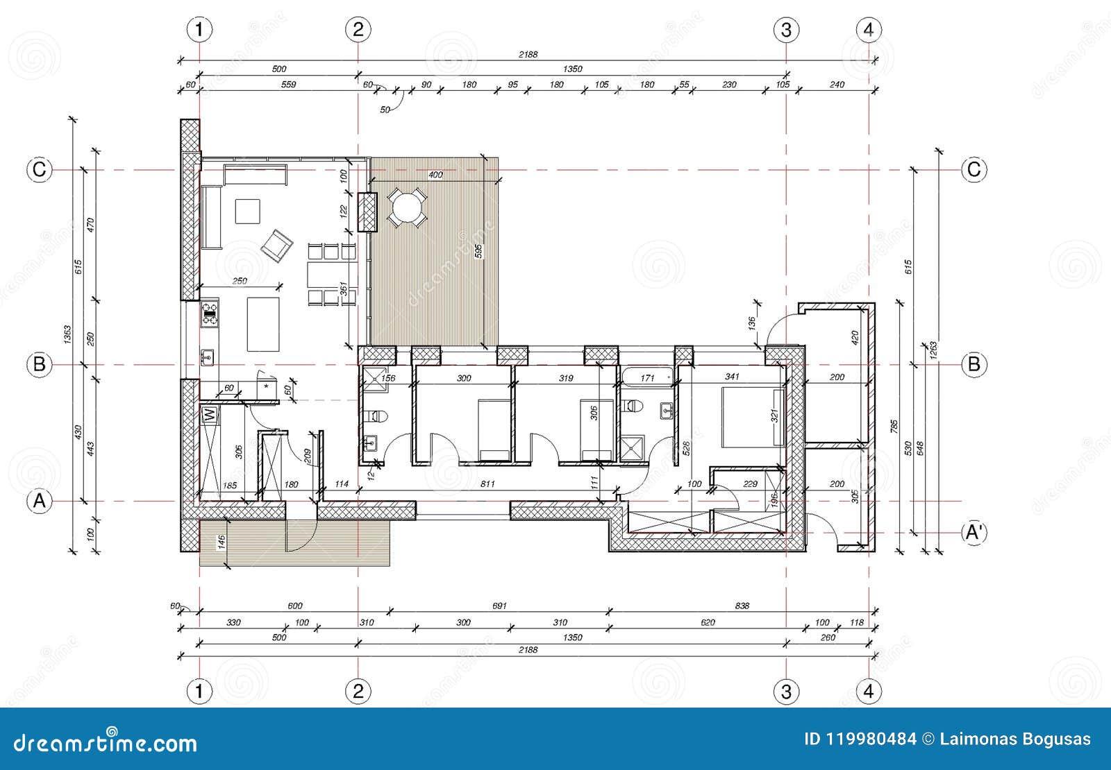 disegno pianta della casa unifamiliare illustrazione