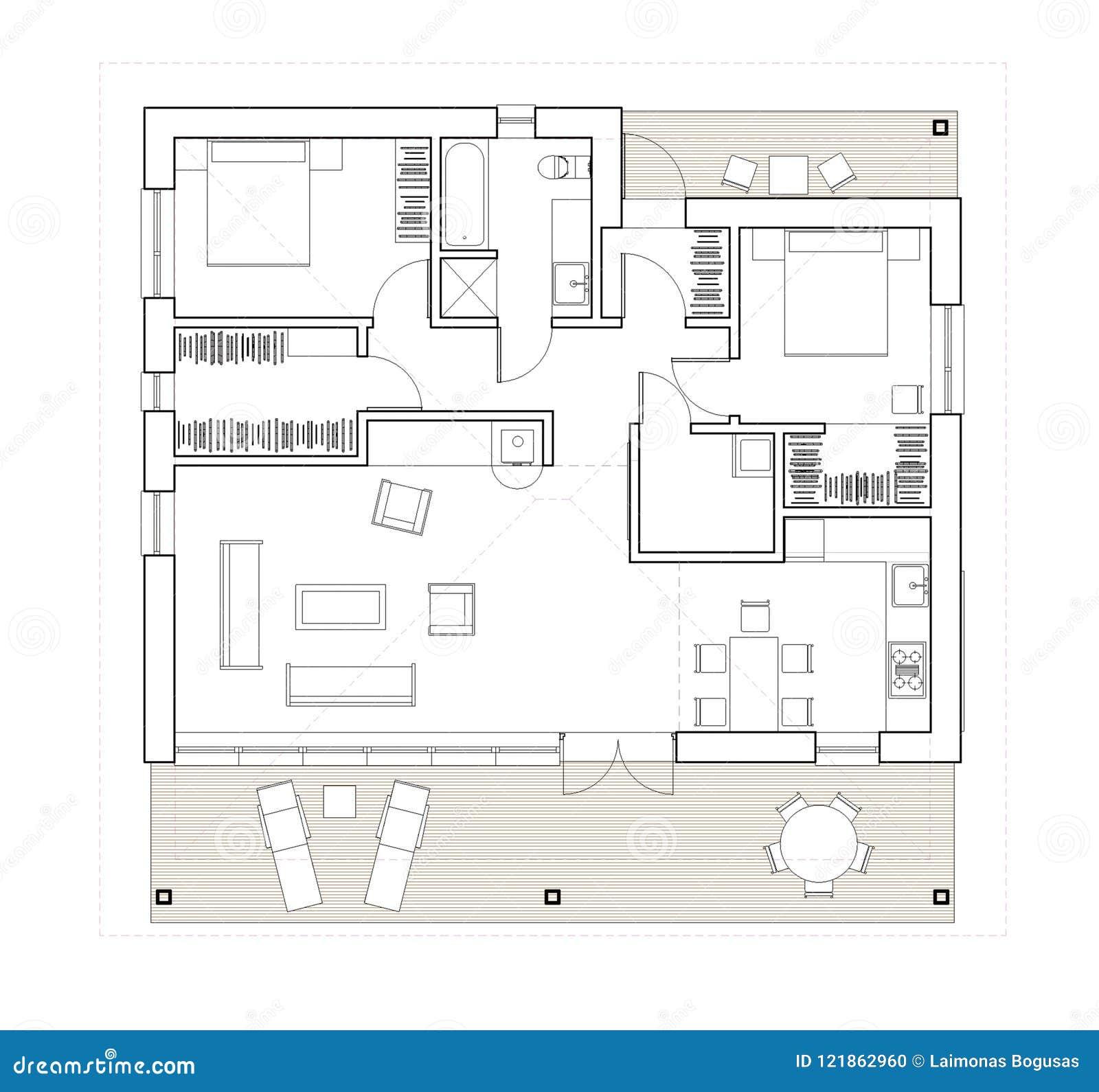 disegno pianta isolata della casa unifamiliare