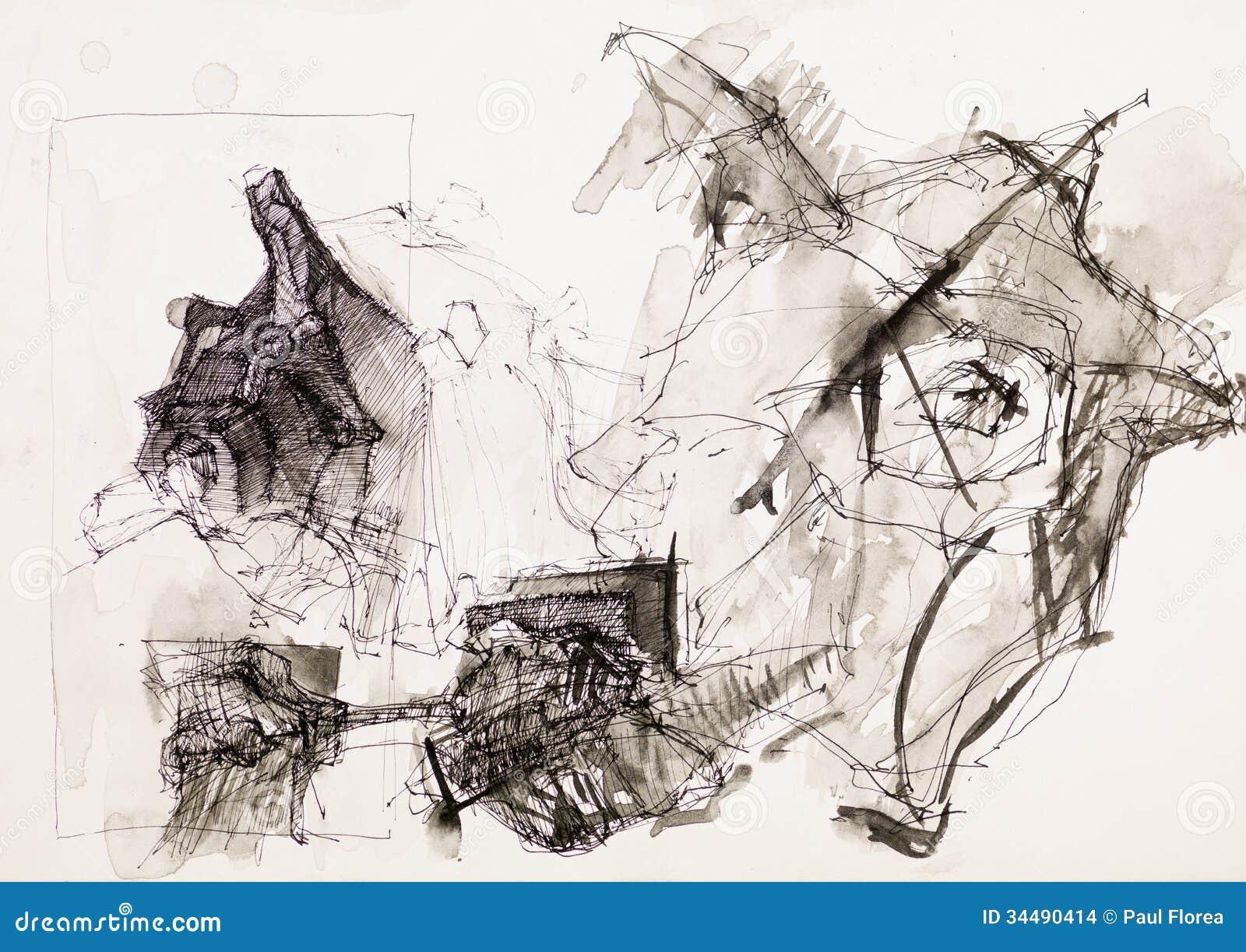 Disegno Psichedelico Dellinchiostro Illustrazione Di Stock
