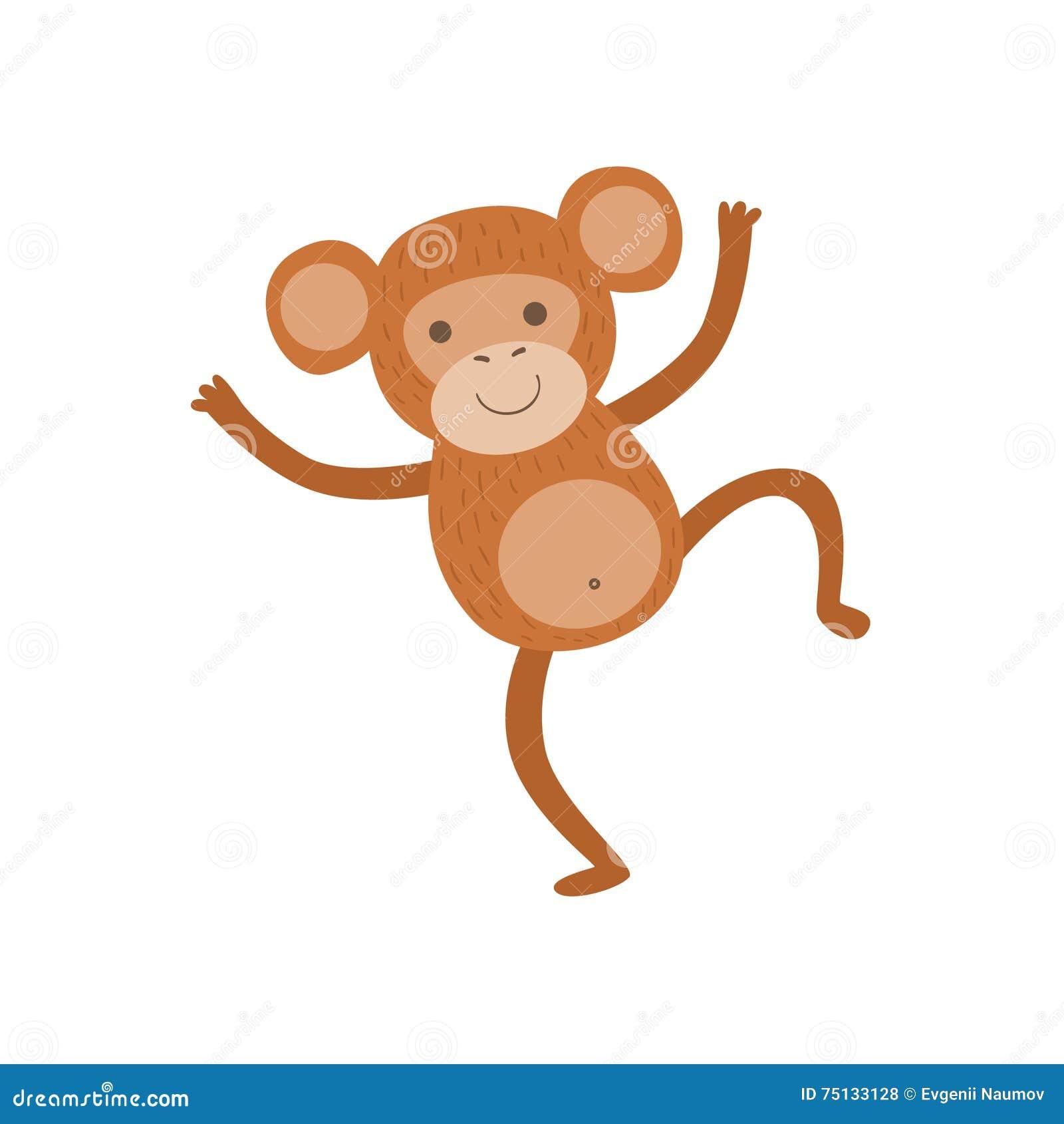 Disegno Puerile Stilizzato Della Scimmia Illustrazione Vettoriale