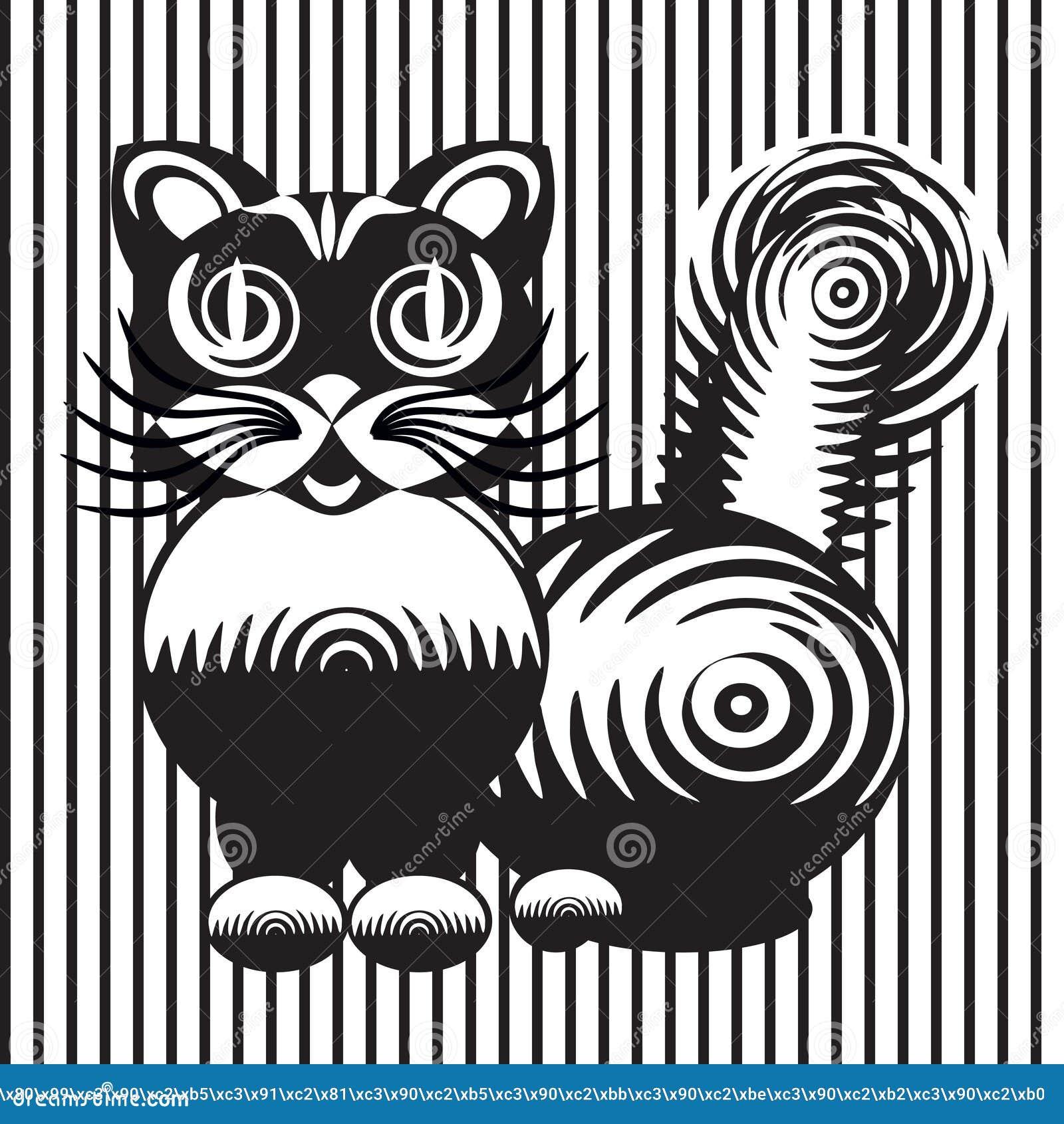 Disegno Stilizzato Di Un Gatto Illustrazione Vettoriale