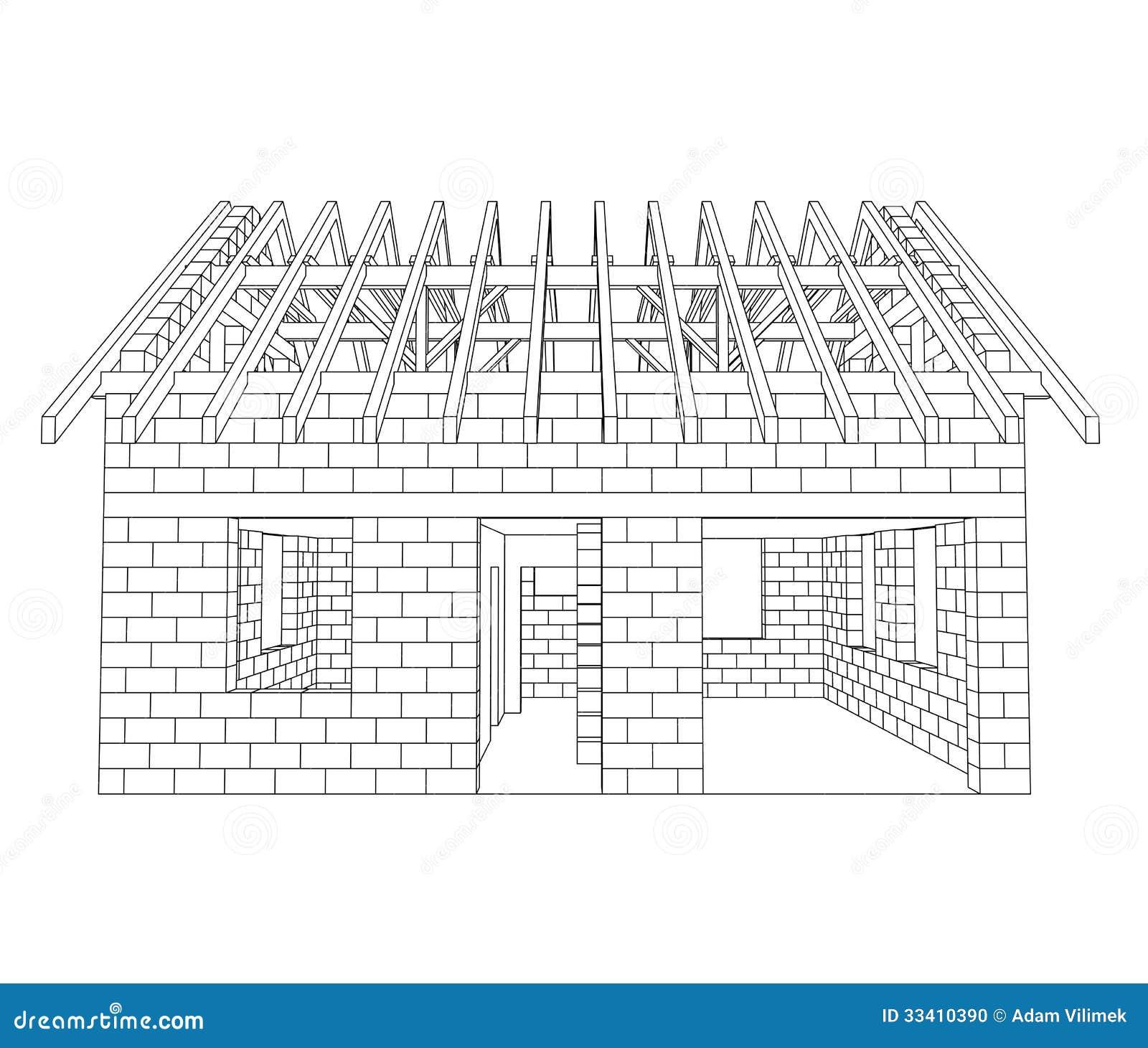 Disegno a tratteggio anteriore della costruzione della for Software gratuito per la costruzione della casa