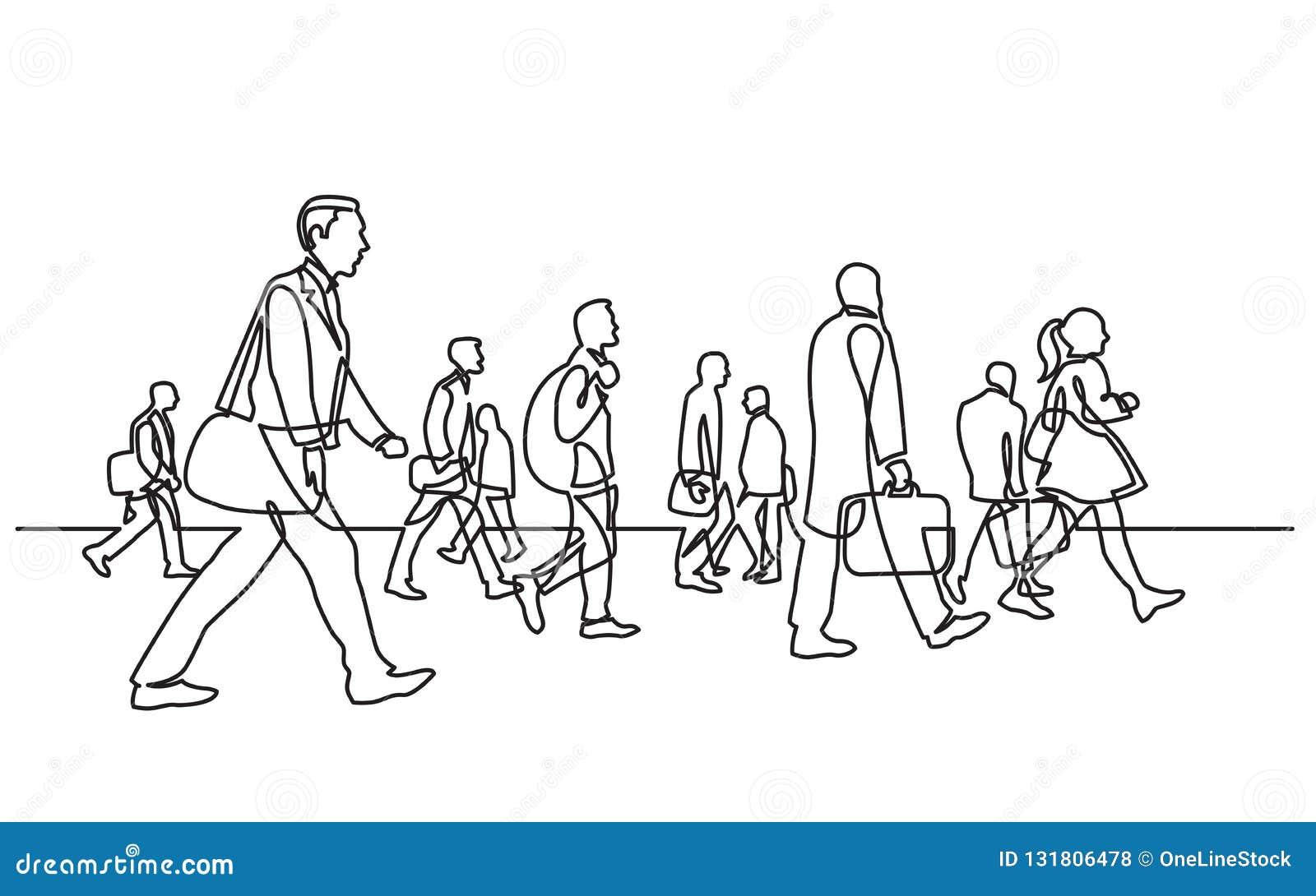 Disegno a tratteggio continuo dei pendolari urbani che camminano sulla via della città