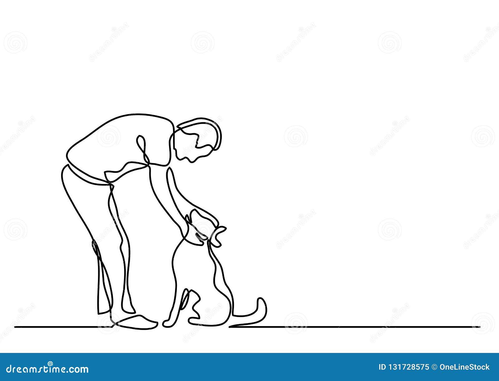 Disegno a tratteggio continuo del cane di coccole dell uomo