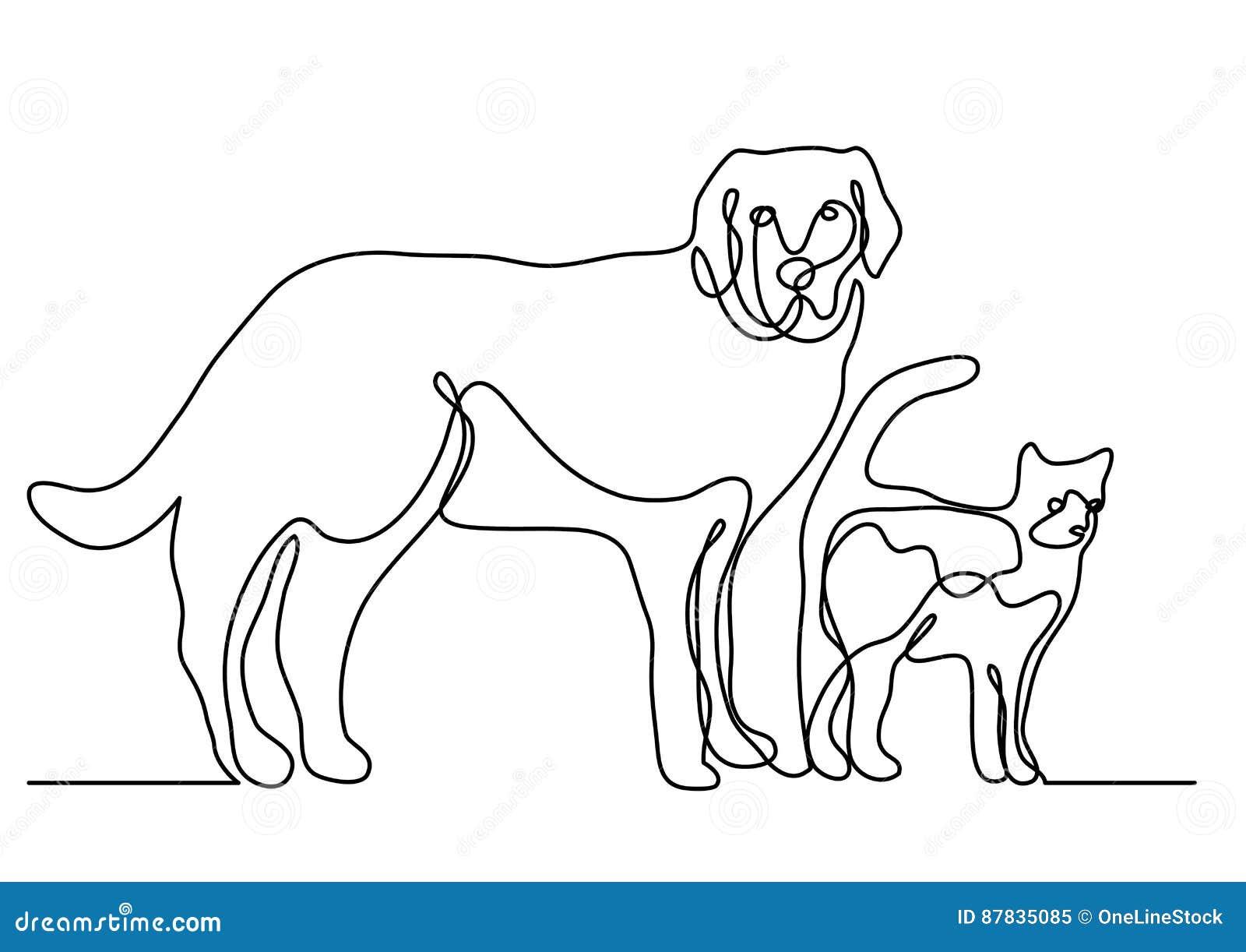 Disegno A Tratteggio Continuo Del Cane E Del Gatto Illustrazione