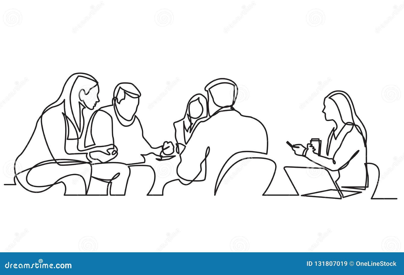 Disegno a tratteggio continuo del gruppo del lavoro che ha riunione
