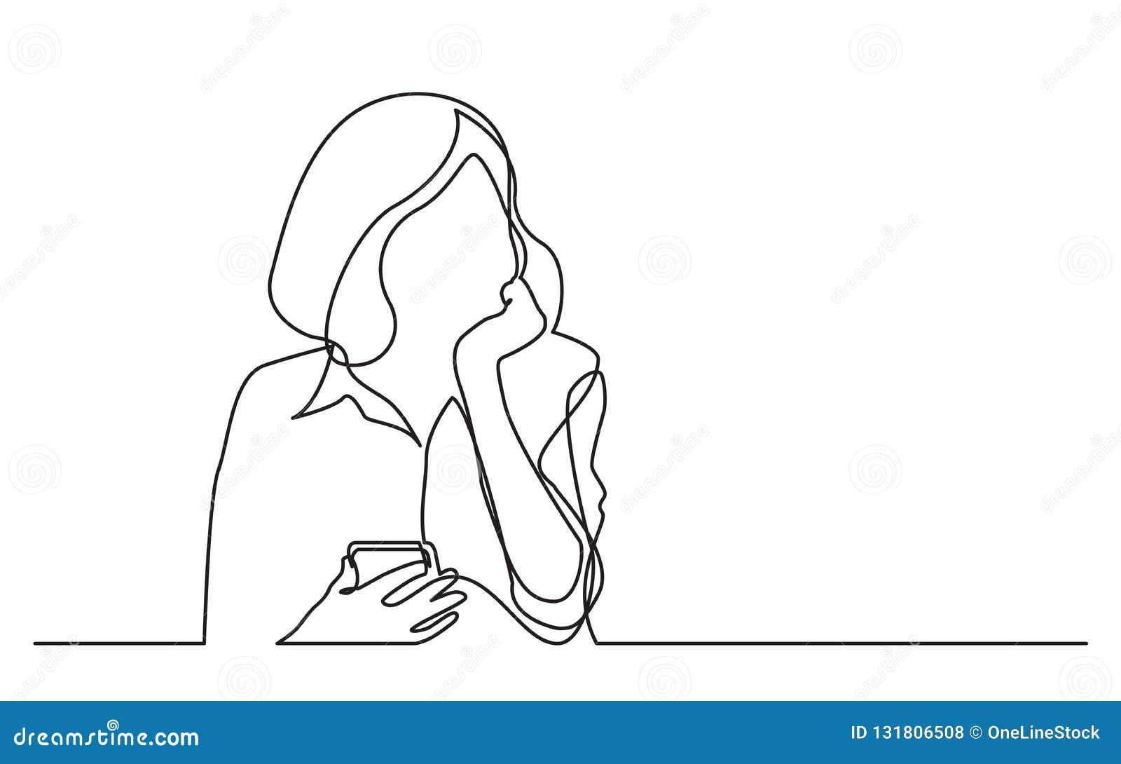 Disegno a tratteggio continuo del telefono cellulare di pensiero della tenuta della donna