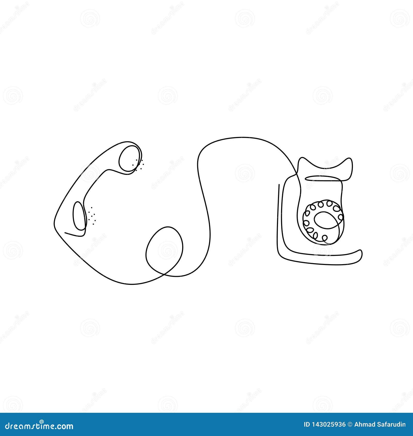 Disegno a tratteggio continuo del telefono d annata classico