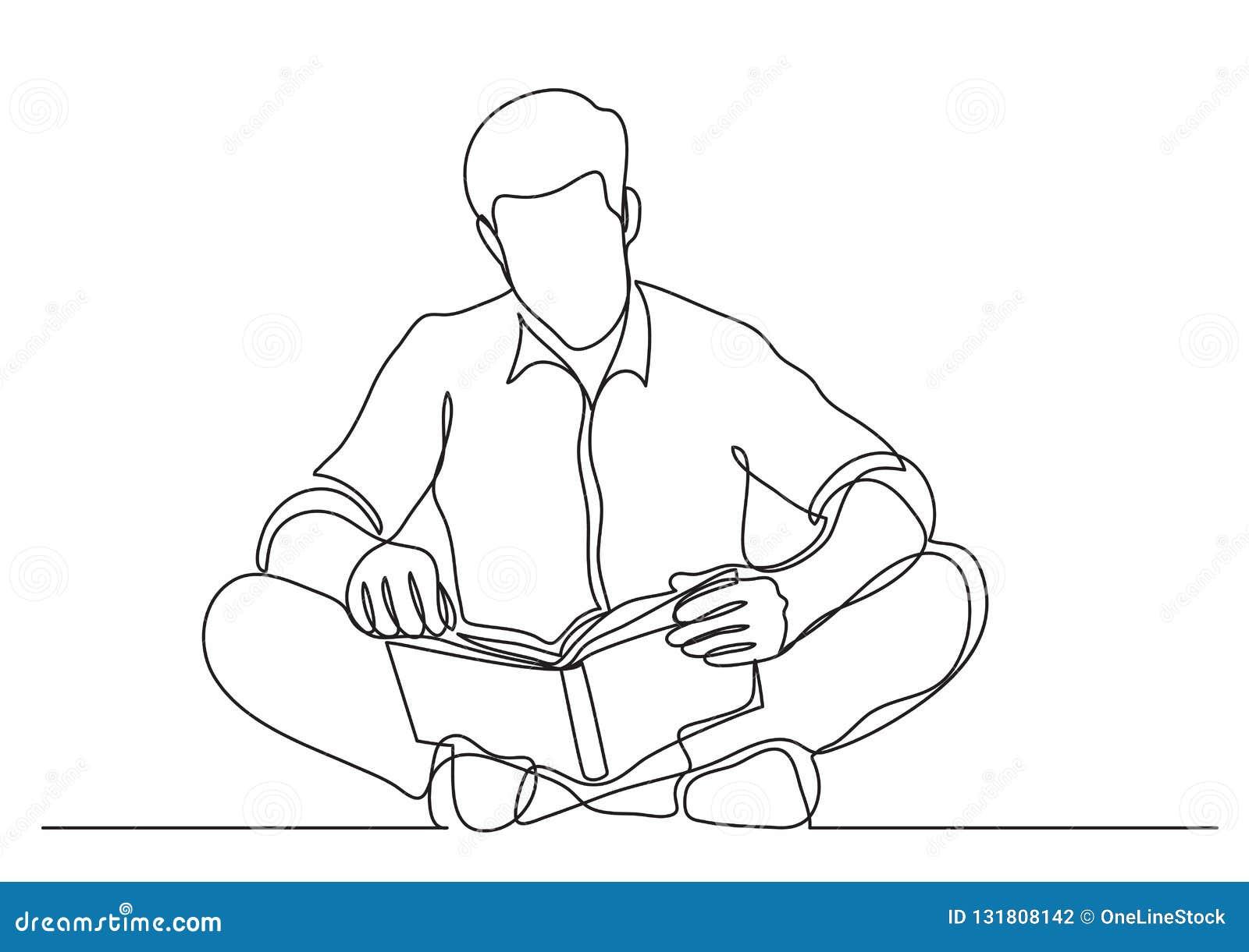 Disegno a tratteggio continuo dell uomo che si siede sul libro di lettura del pavimento