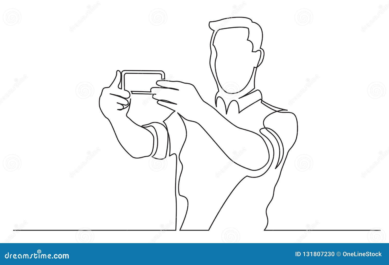 Disegno a tratteggio continuo dell uomo stante che fa selfie con il suo telefono cellulare
