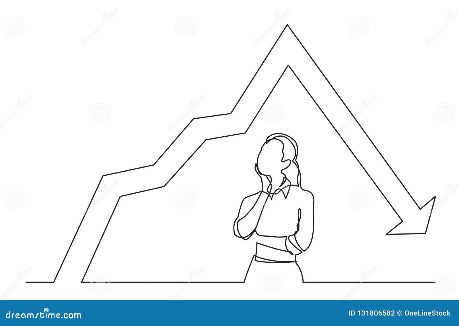 Disegno a tratteggio continuo della donna stante che pensa al grafico diminuente