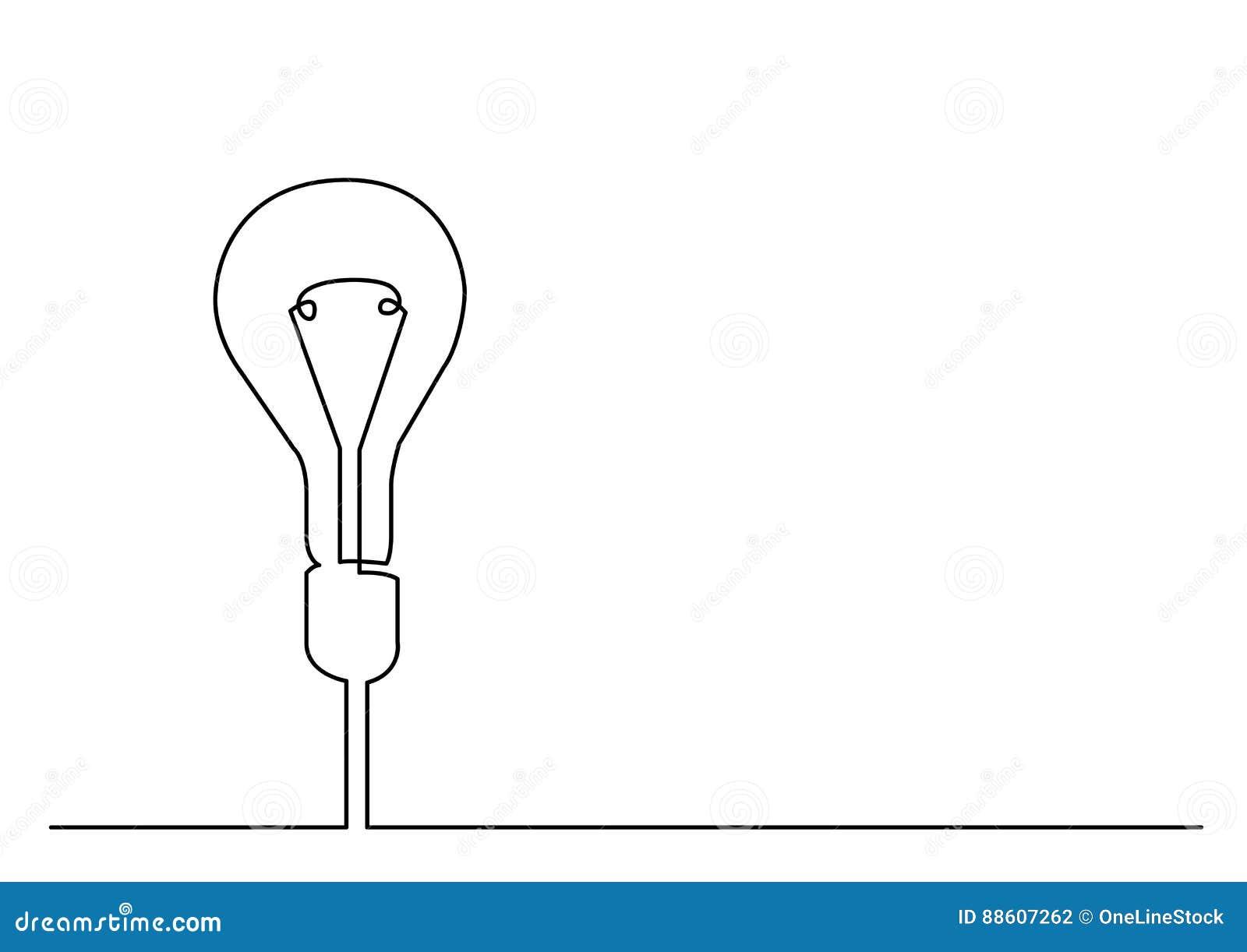 Disegno a tratteggio continuo della metafora di idea o della lampadina