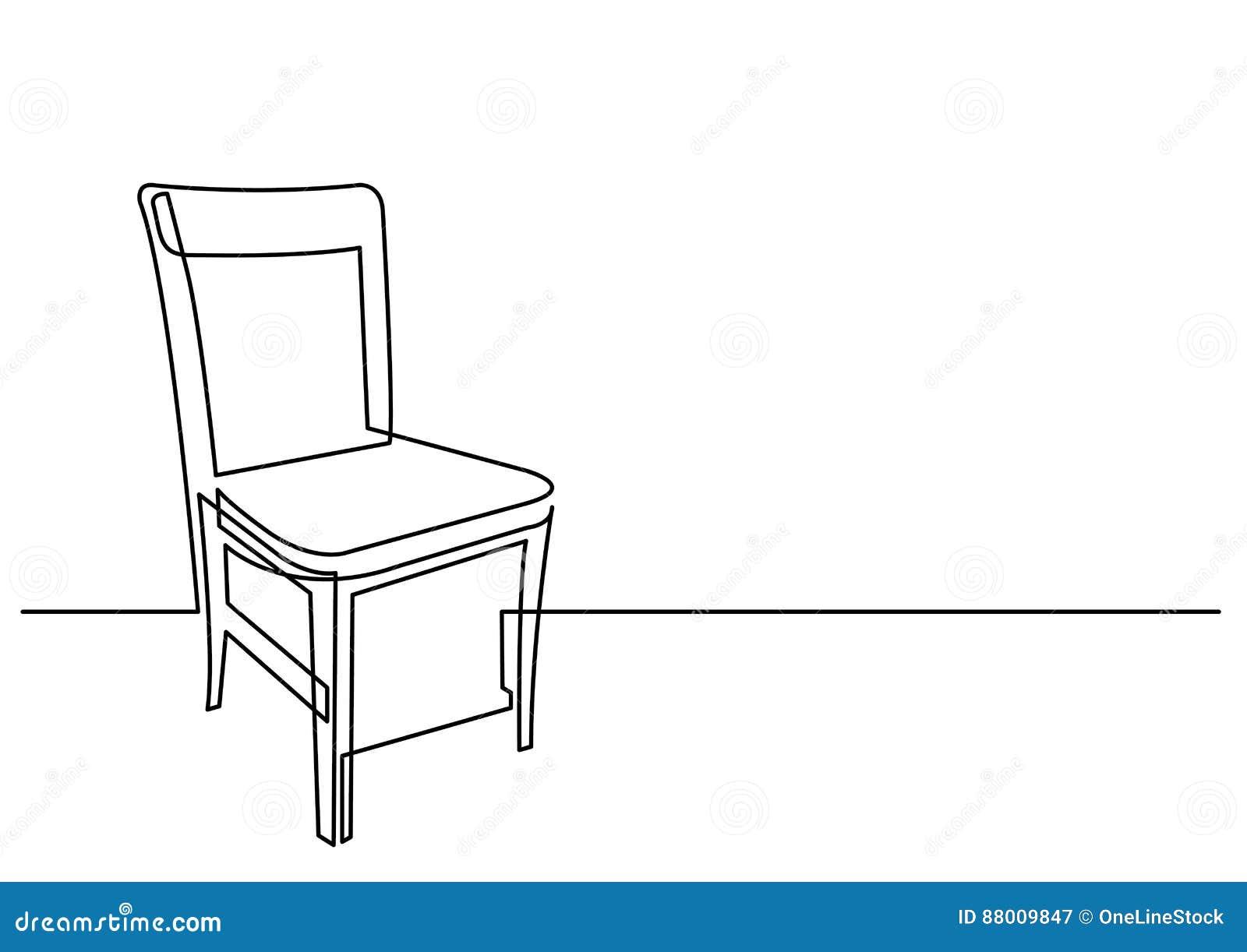 Tratteggio Continuo A Sedia Disegno Illustrazione Della Vettoriale n0Nwvm8