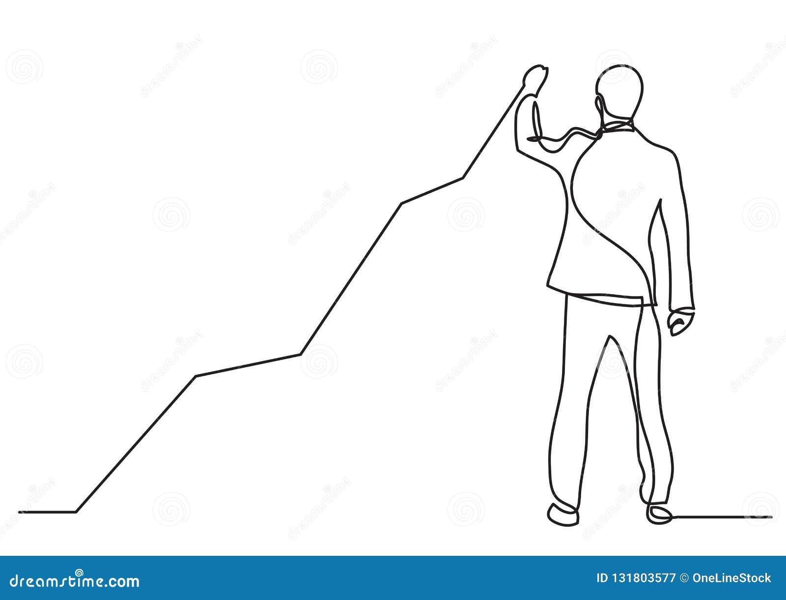 Disegno a tratteggio continuo della situazione aziendale - diagramma in aumento stante del disegno dell uomo d affari