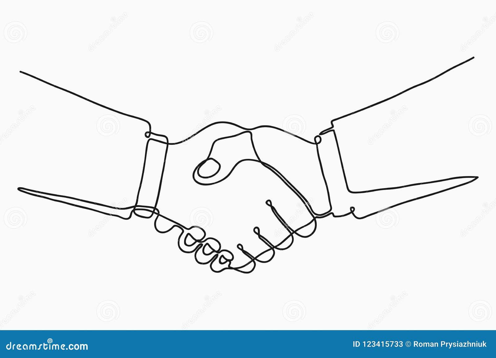 Disegno a tratteggio continuo della stretta di mano Handshake dei soci commerciali disegnati da una singola linea Vettore