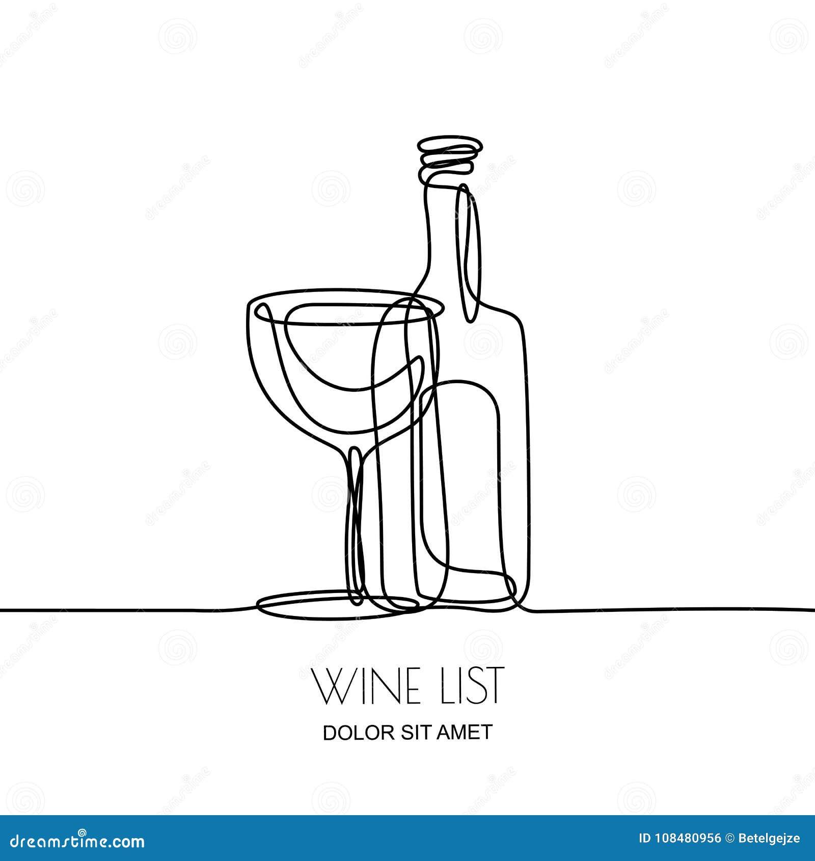 Disegno a tratteggio continuo Vector l illustrazione nera lineare della bottiglia e del vetro di vino isolati su fondo bianco