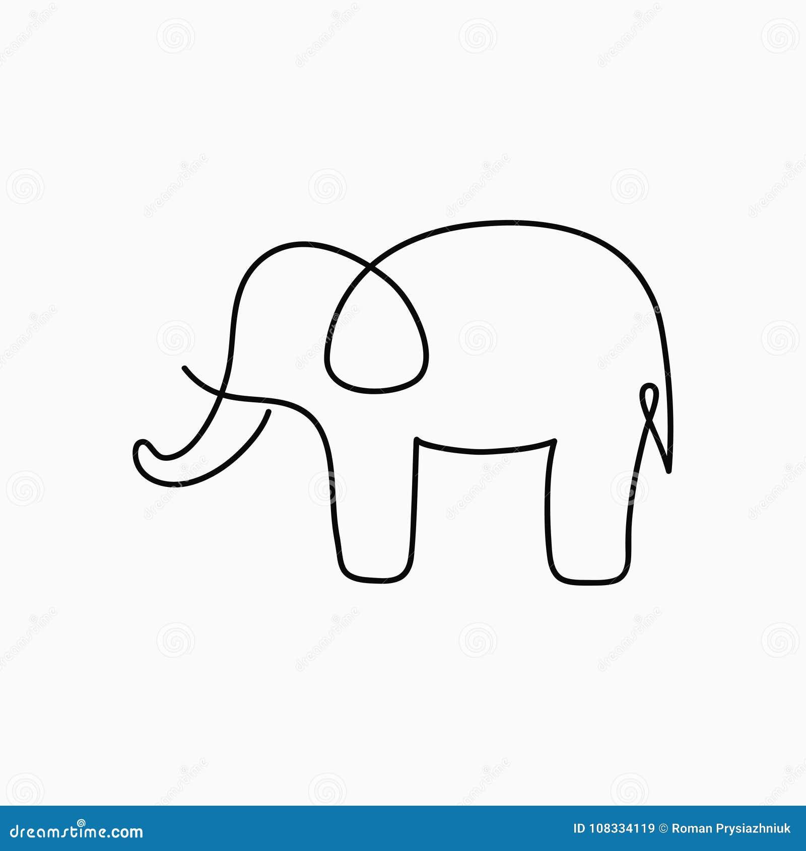 Disegno A Tratteggio Dell Elefante Uno Linea Continua Animale