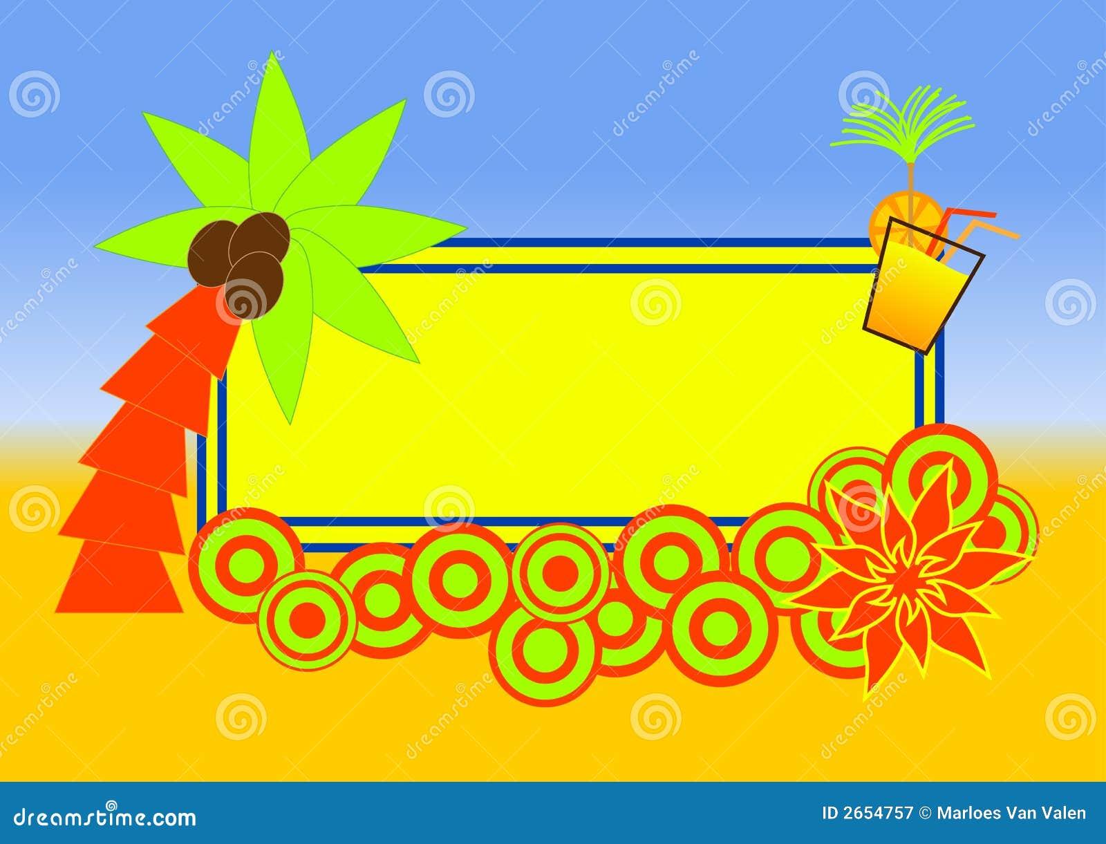 Disegno tropicale del contrassegno della spiaggia for Disegno della casa sulla spiaggia