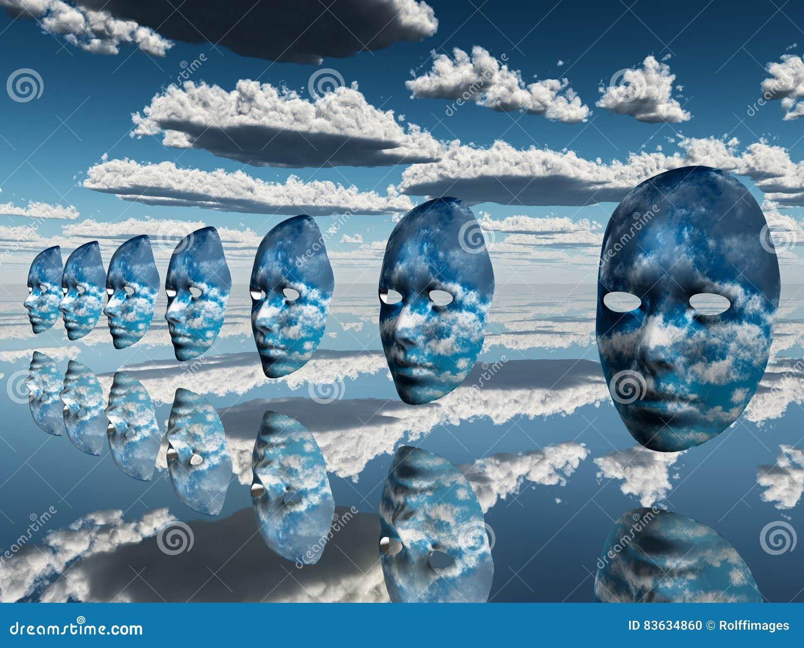 Disembodied twarze unoszą się w surrealistycznej scenie