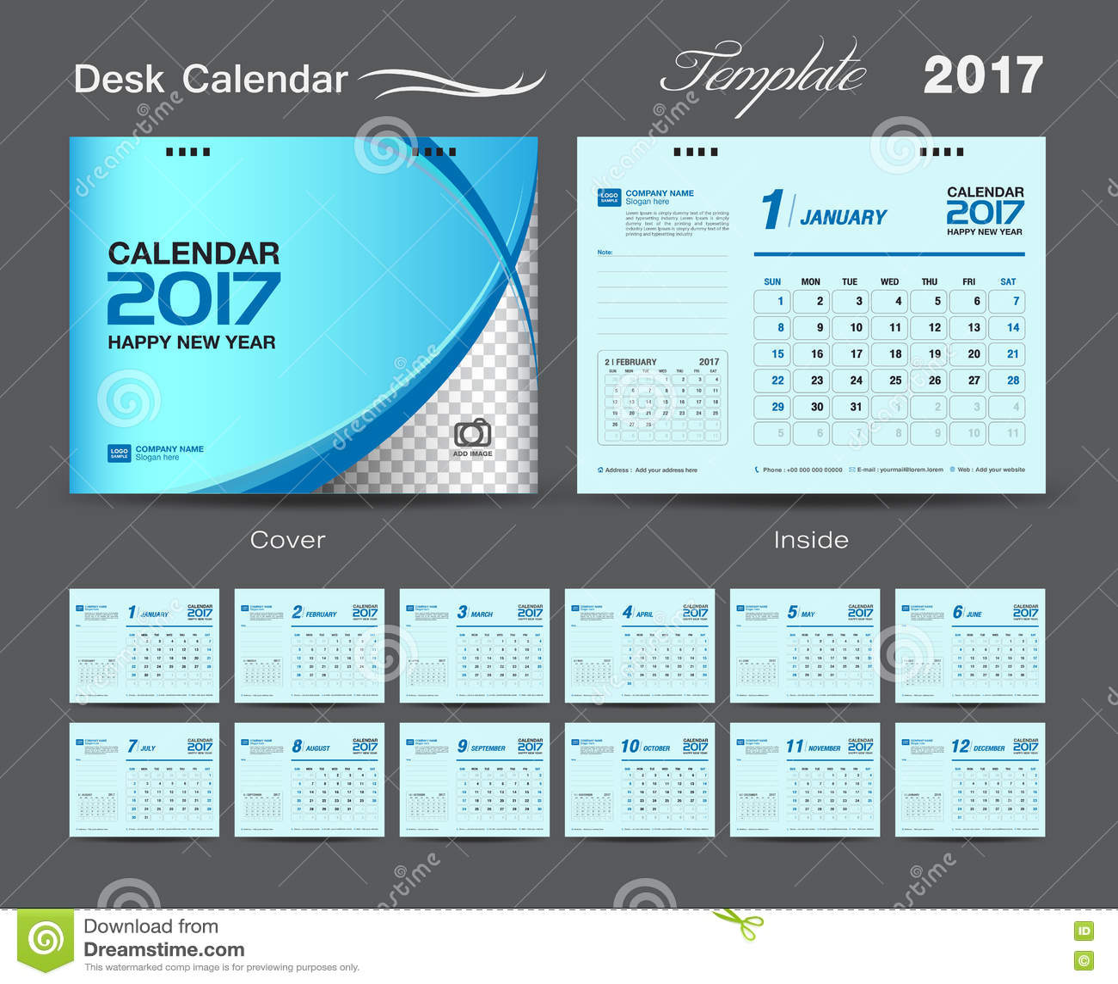 Dise o azul determinado 2017 calendario de la plantilla del calendario de escritorio de - Plantilla calendario de mesa ...
